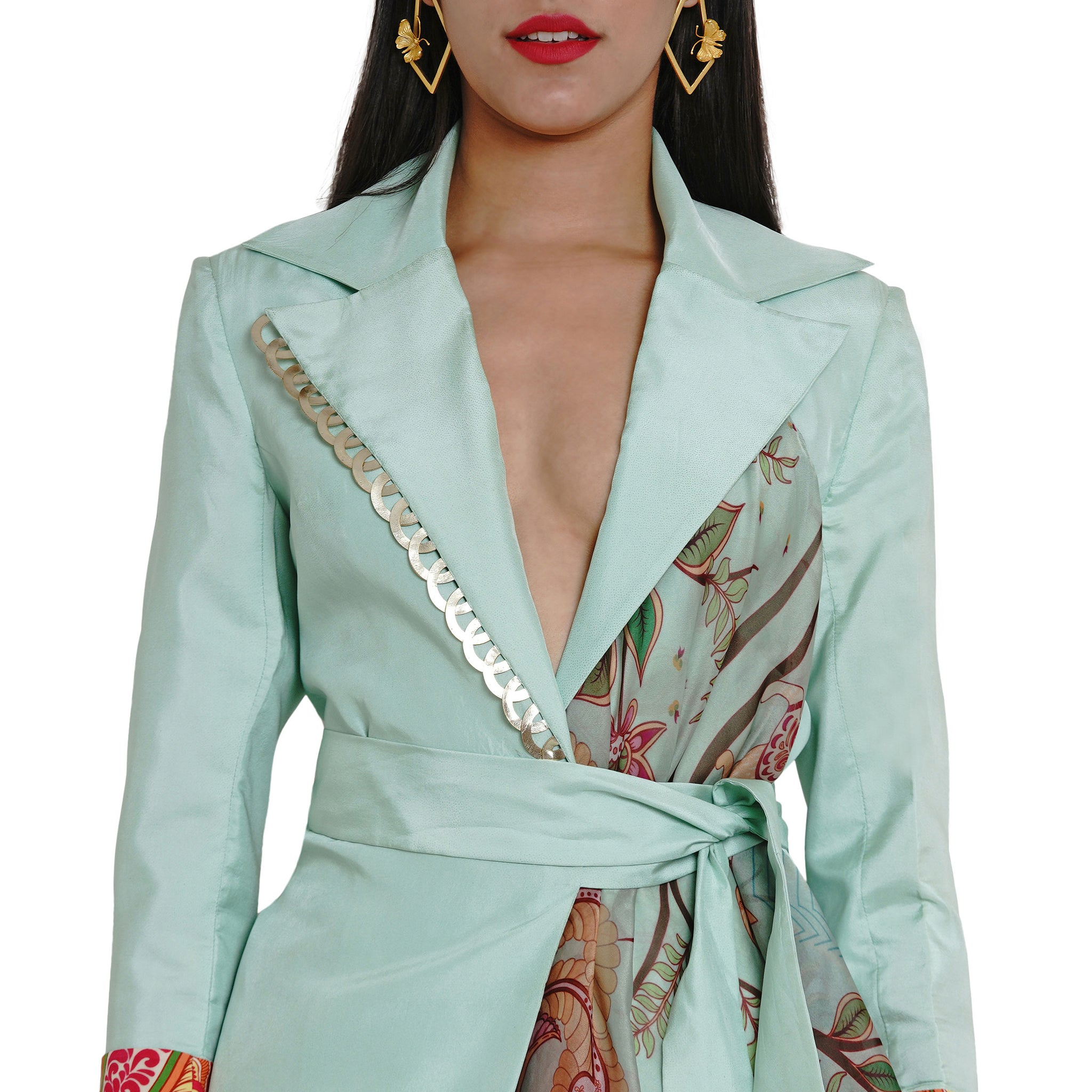 Embroidered Wrap Jacket