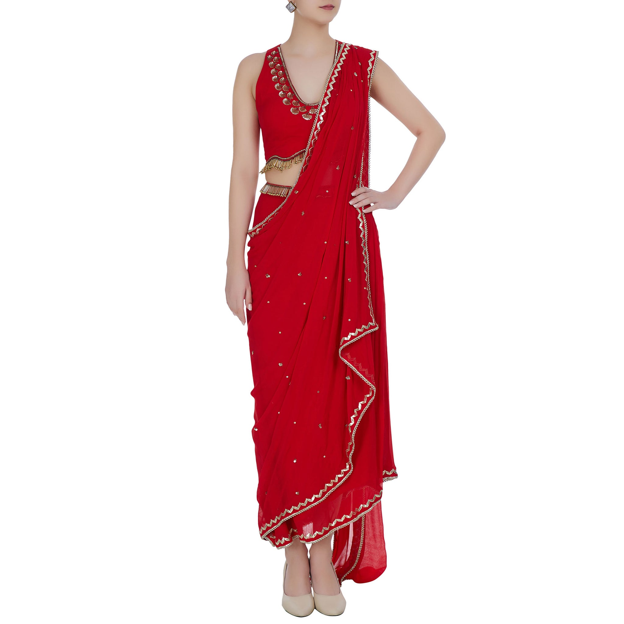 Embroidered Pre-Draped sari