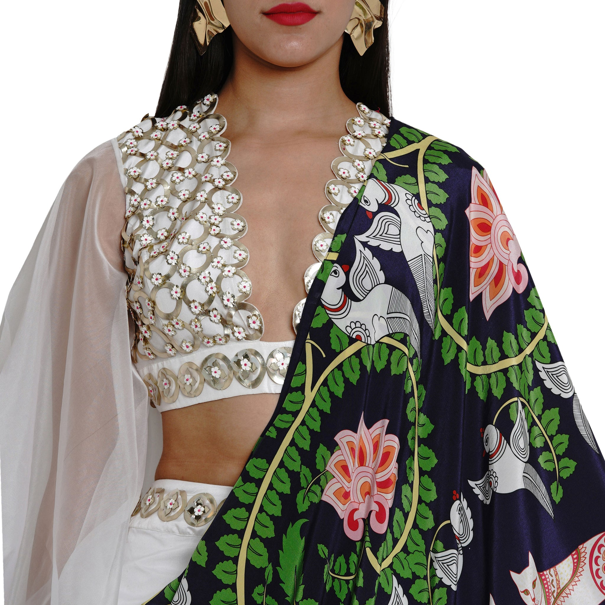 Embroidered Pre-draped Trouser Sari