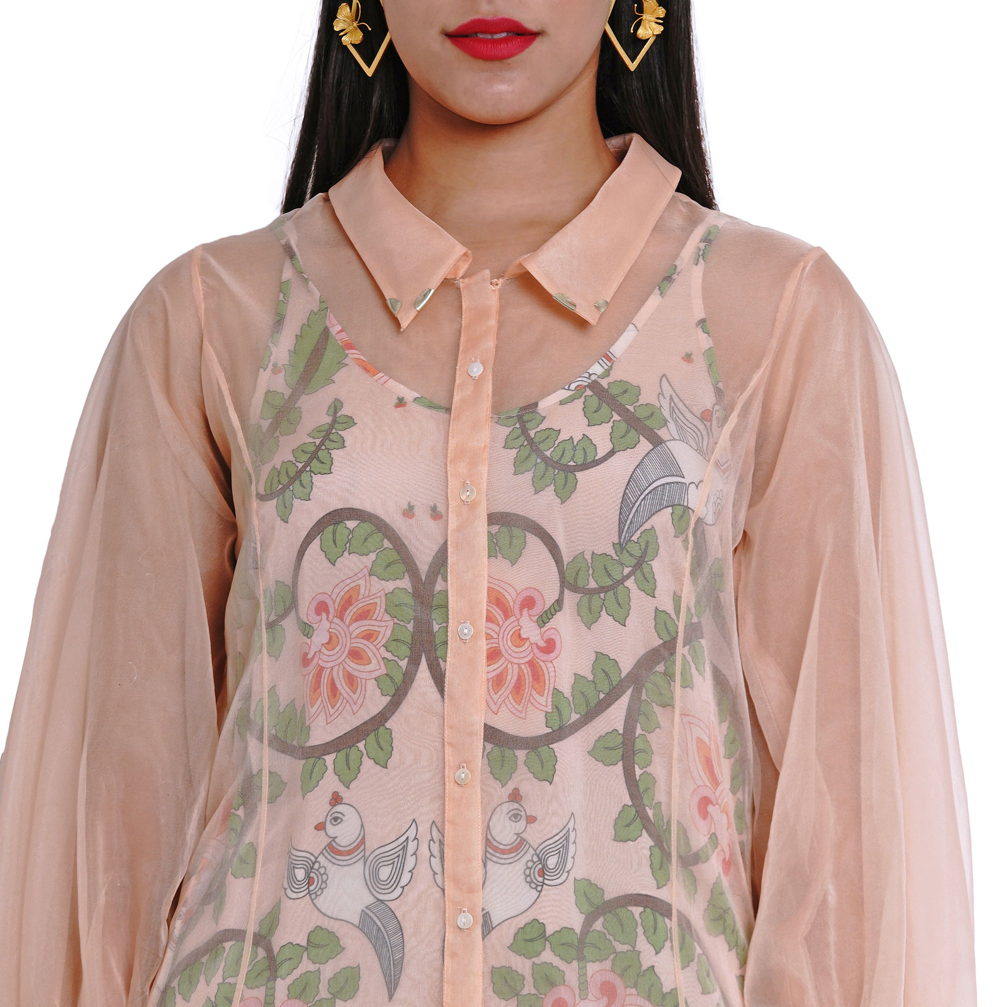 Embroidered Organza Jacket with Printed Slip