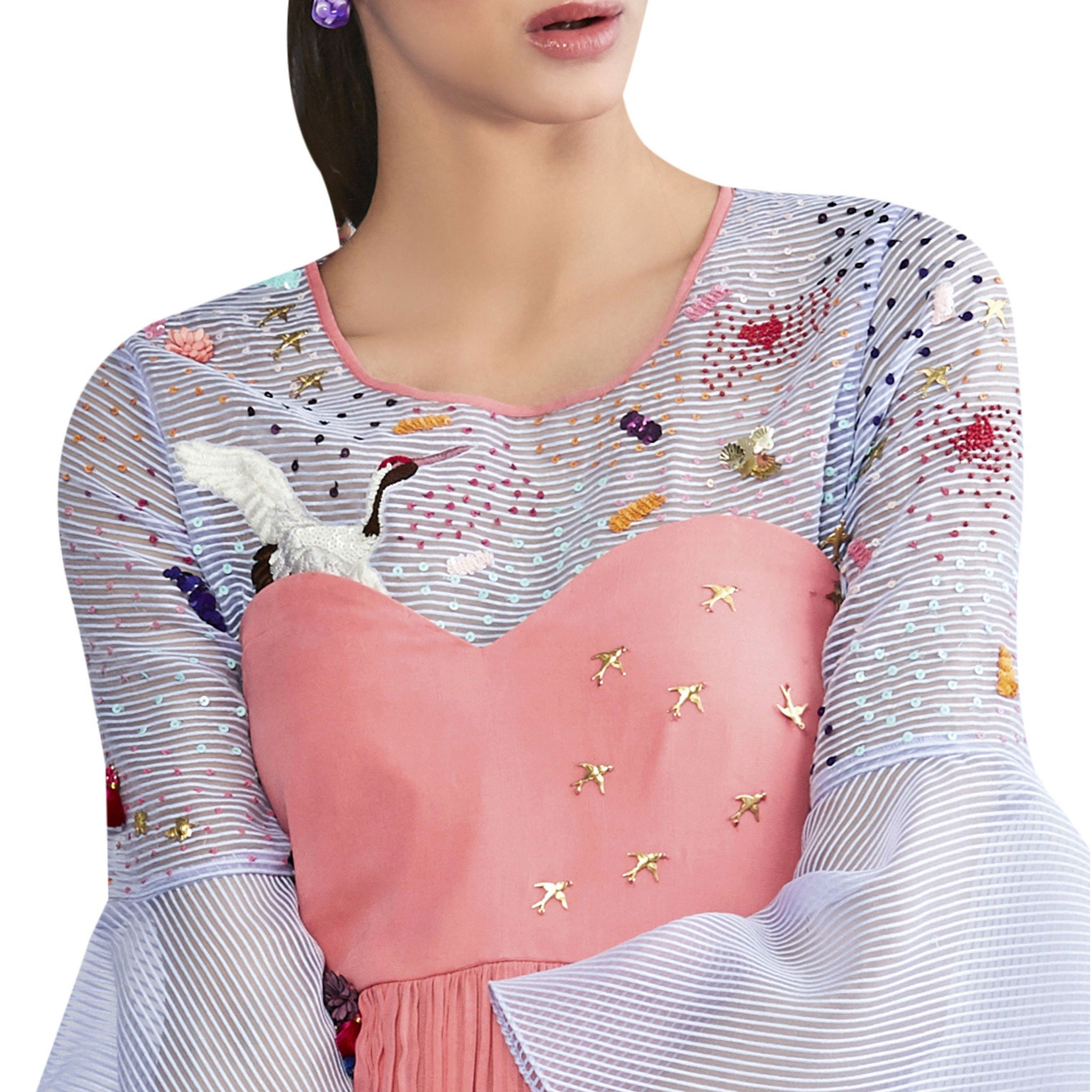 Hand Embroidered Bell Sleeves Top