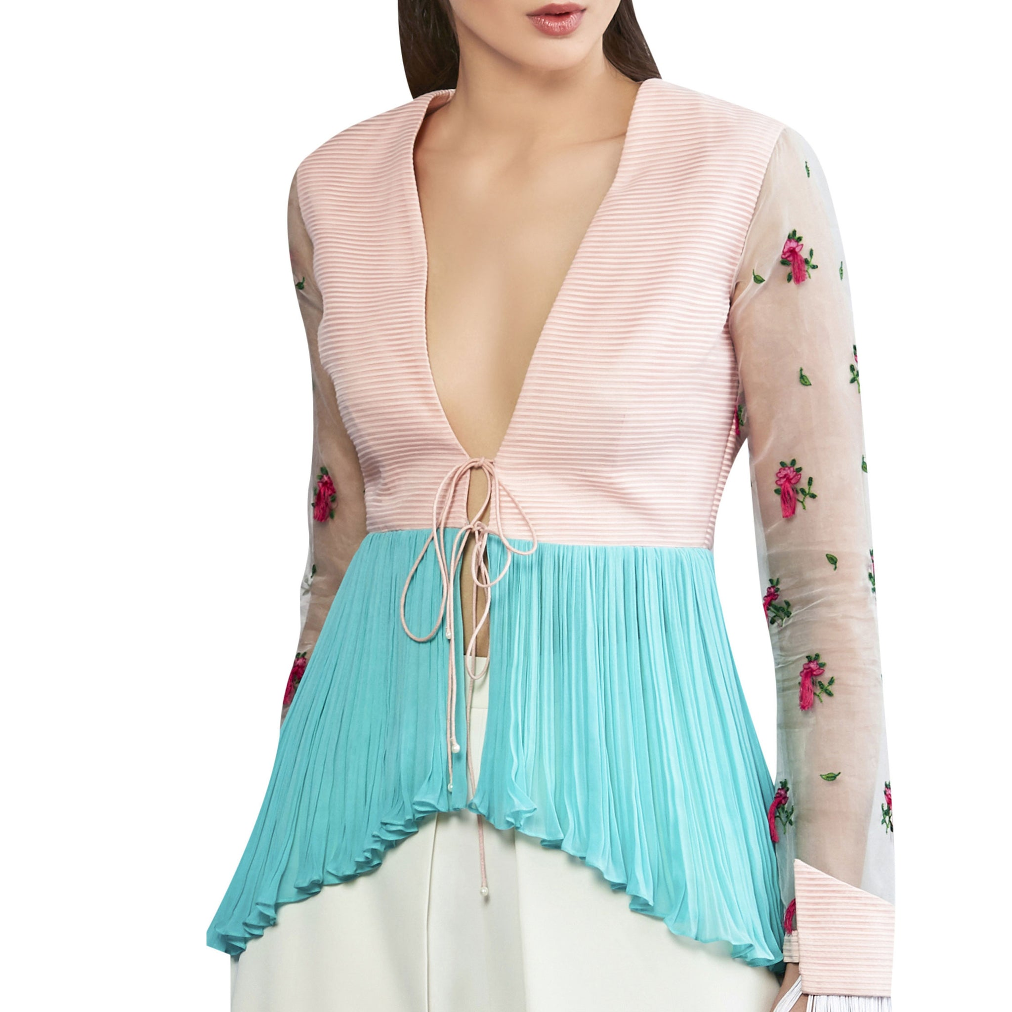Peplum Jacket with Embroidered Sleeves and Tassles