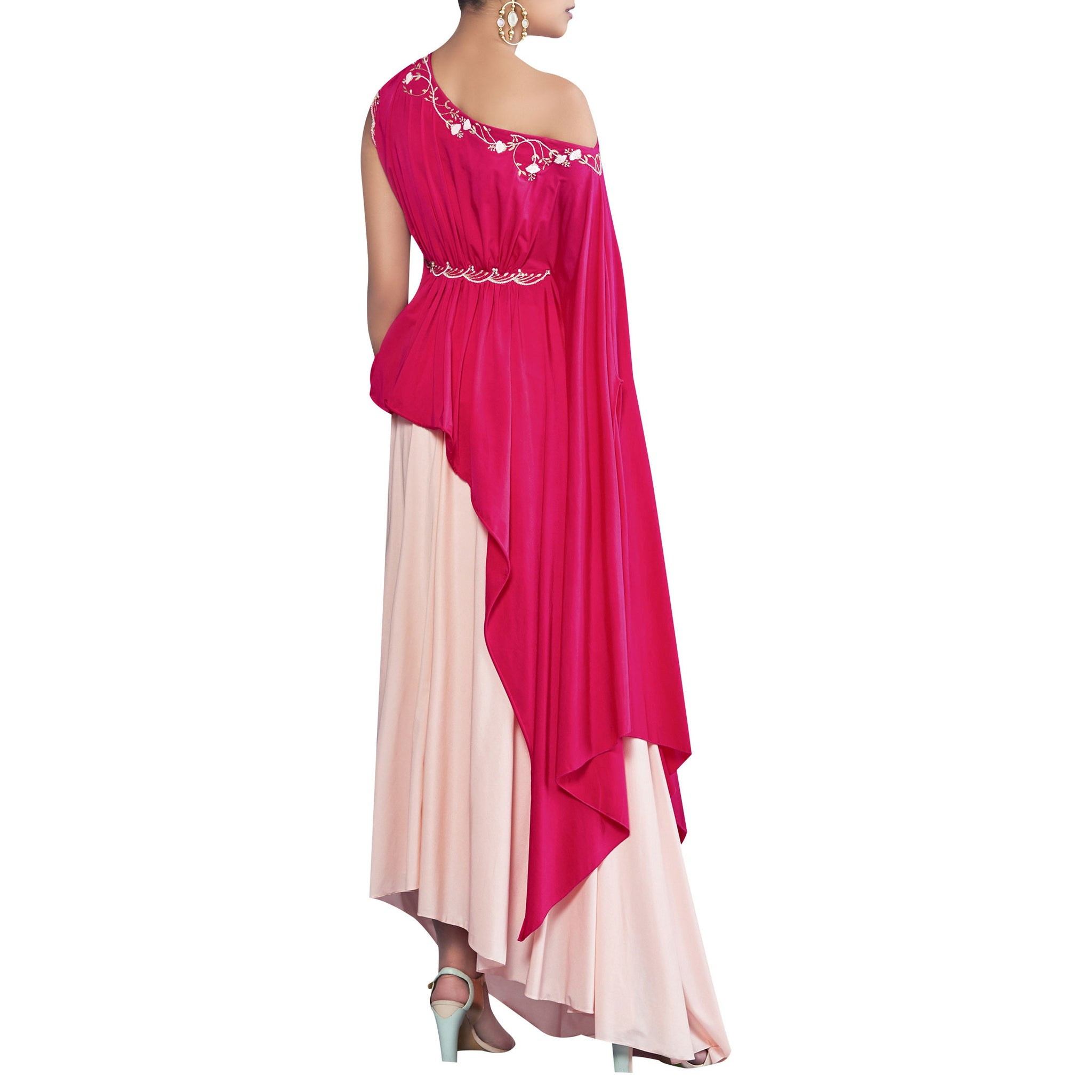 One-Shoulder Draped Top with Dhoti Skirt