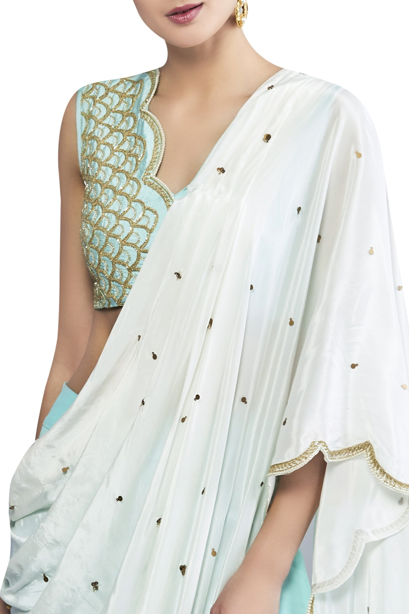 Embroidered & Draped Sharara set