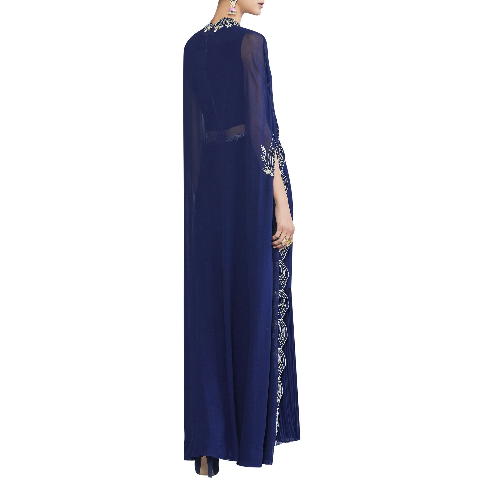 Pleated Sharara with Top & Embroidered Cape