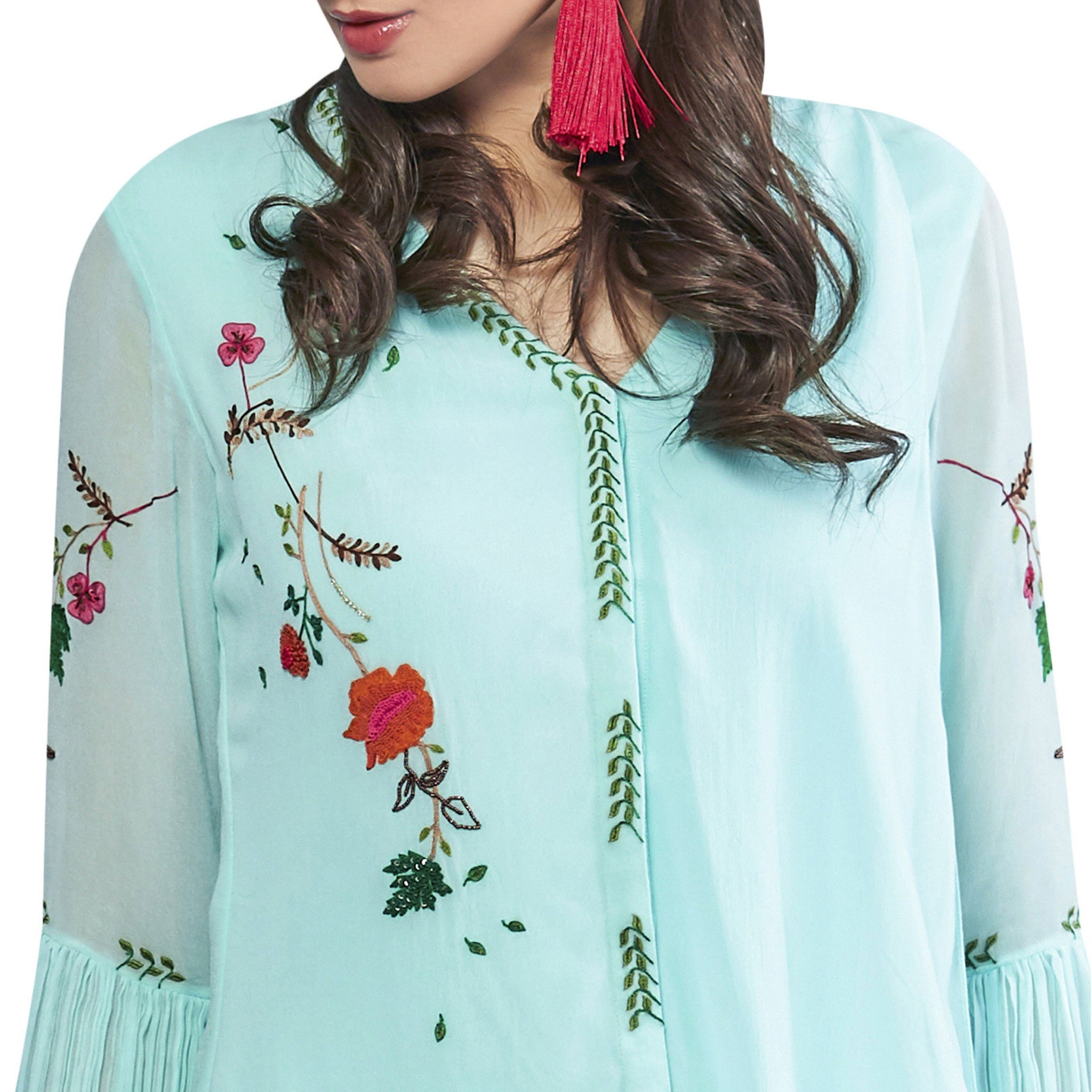 Embroidered Draped Tunic