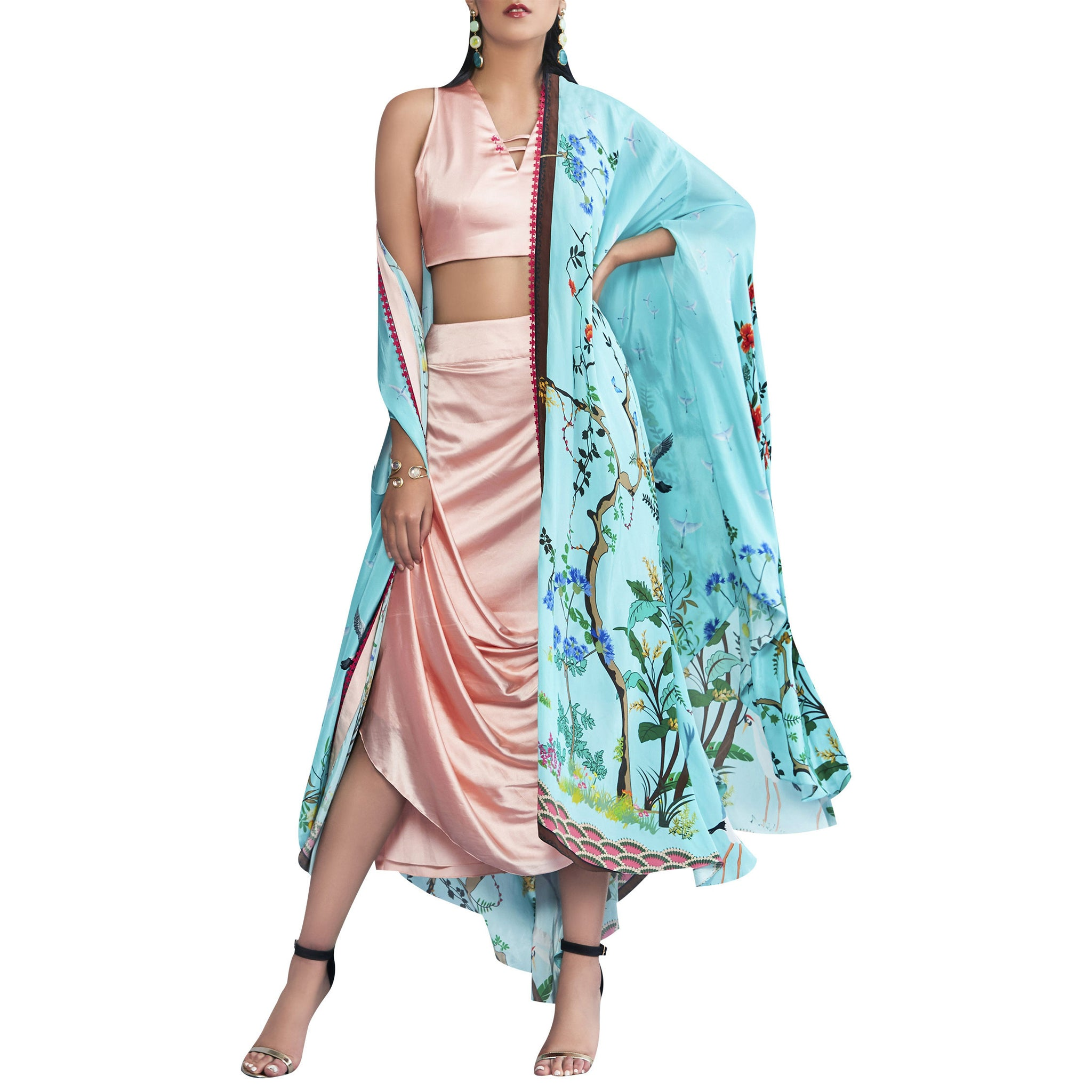Printed Cape with Embroidered Top and Draped Skirt