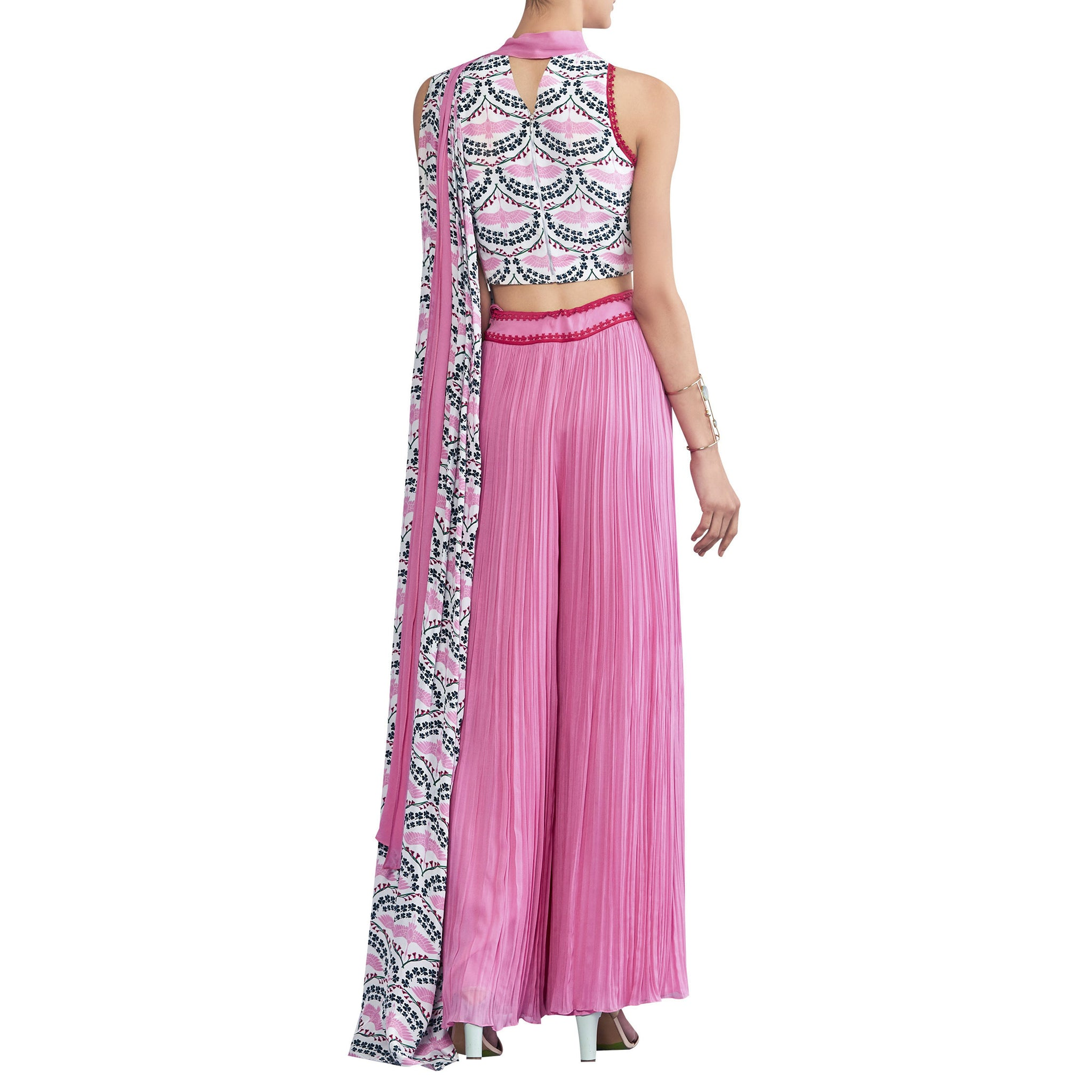 Embroidered Top with Sari Inspired Pants