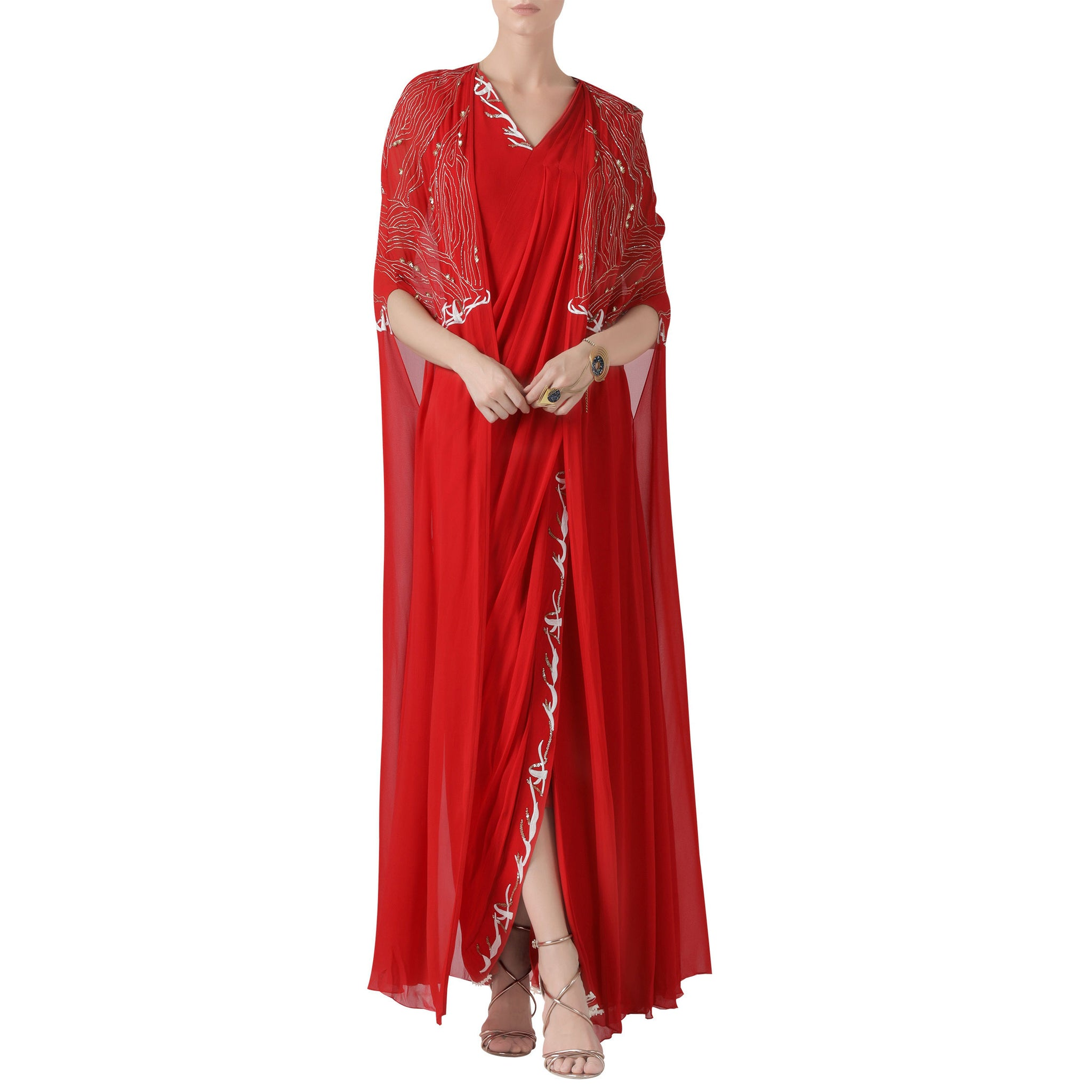 Embroidered Cape with Pre-Draped Sari