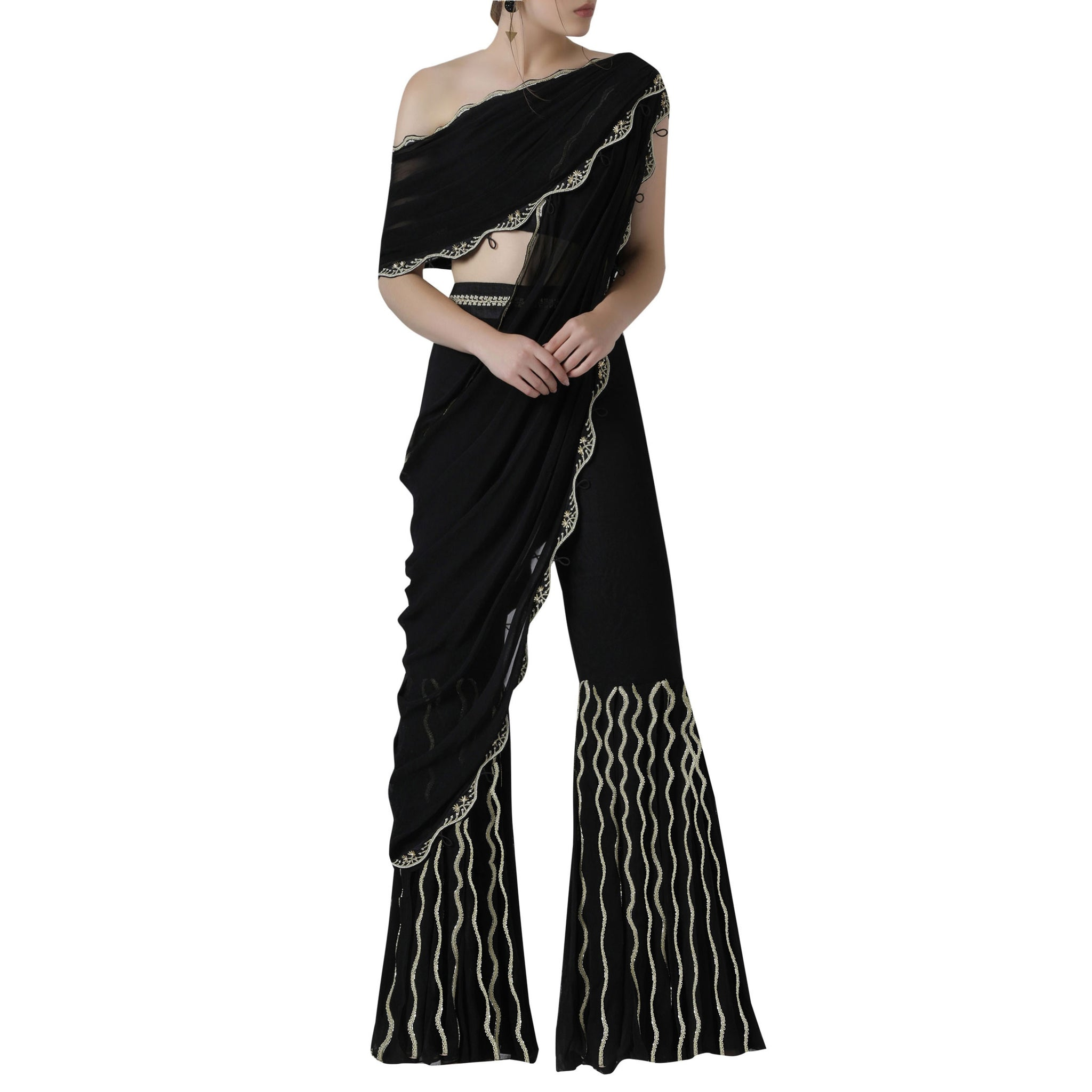 Double Drape One Shoulder Blouse with Pleated Sharara pants