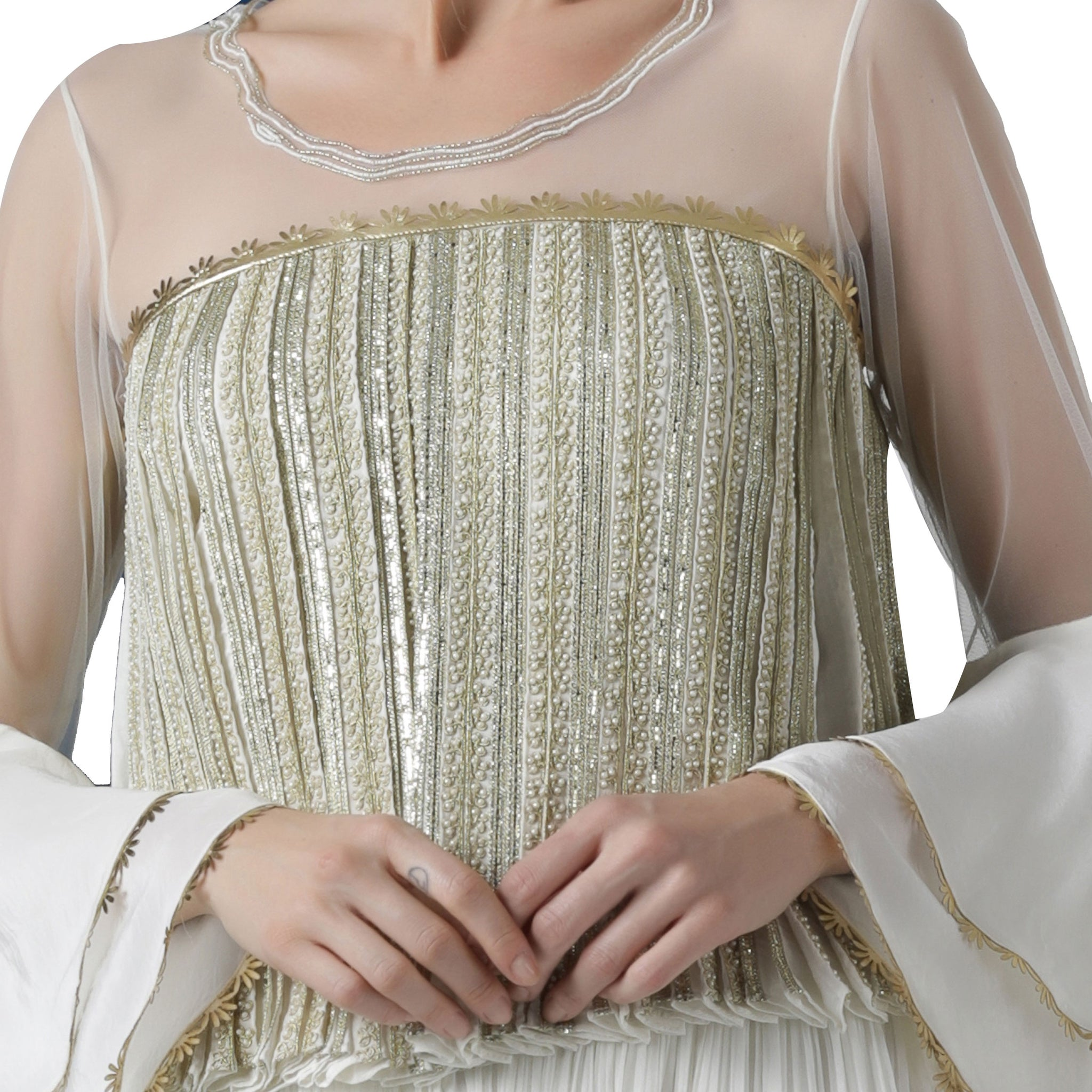 Pearl Embellished Pleated Blouse With and Layered Palazzo Set