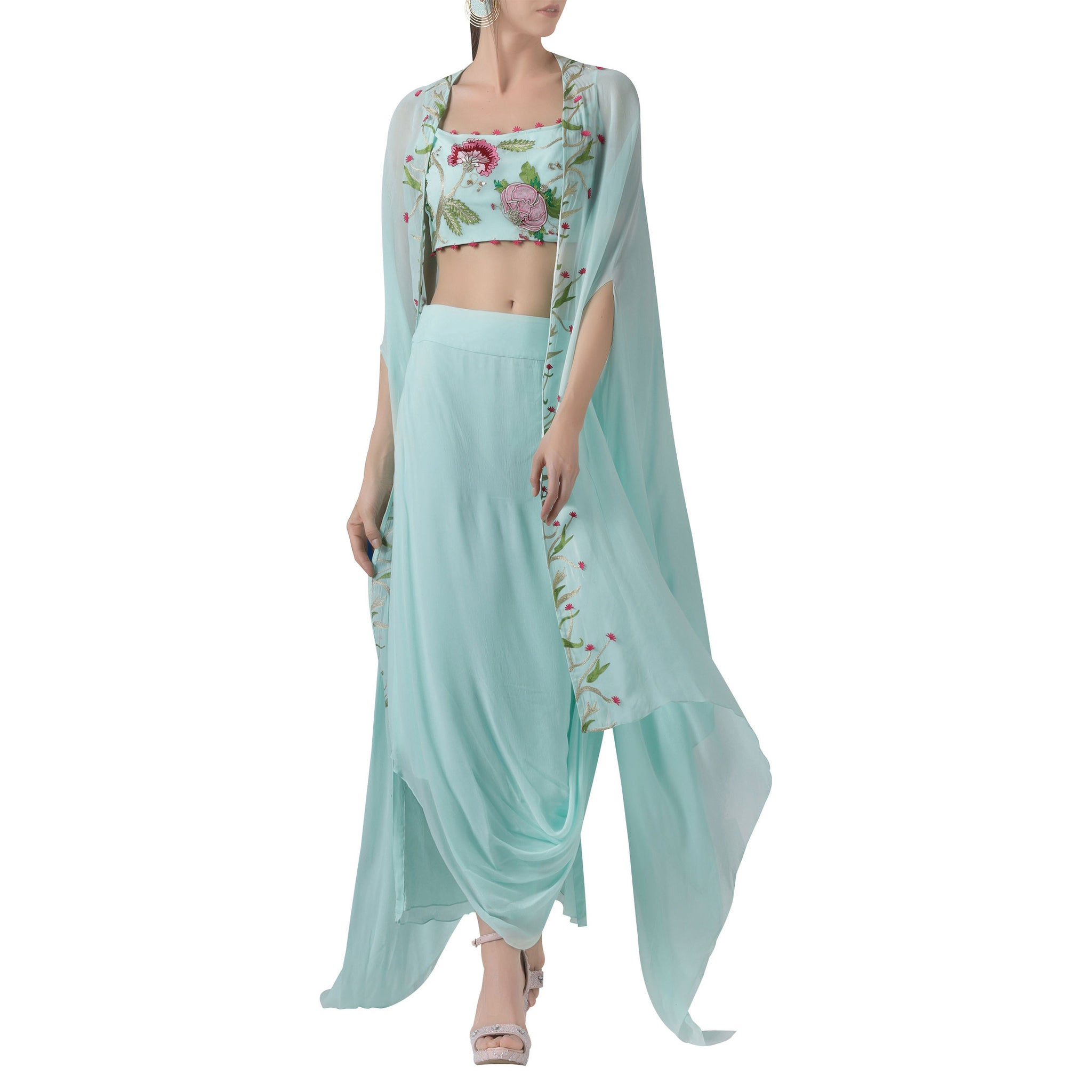 Embroidered Cape with Crop Top & Draped Skirt