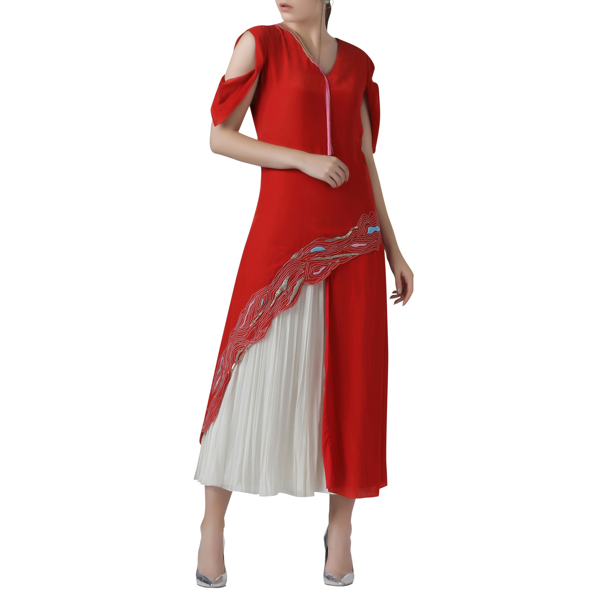 Embroidered Asymmetric Tunic with Pleated Pants Set