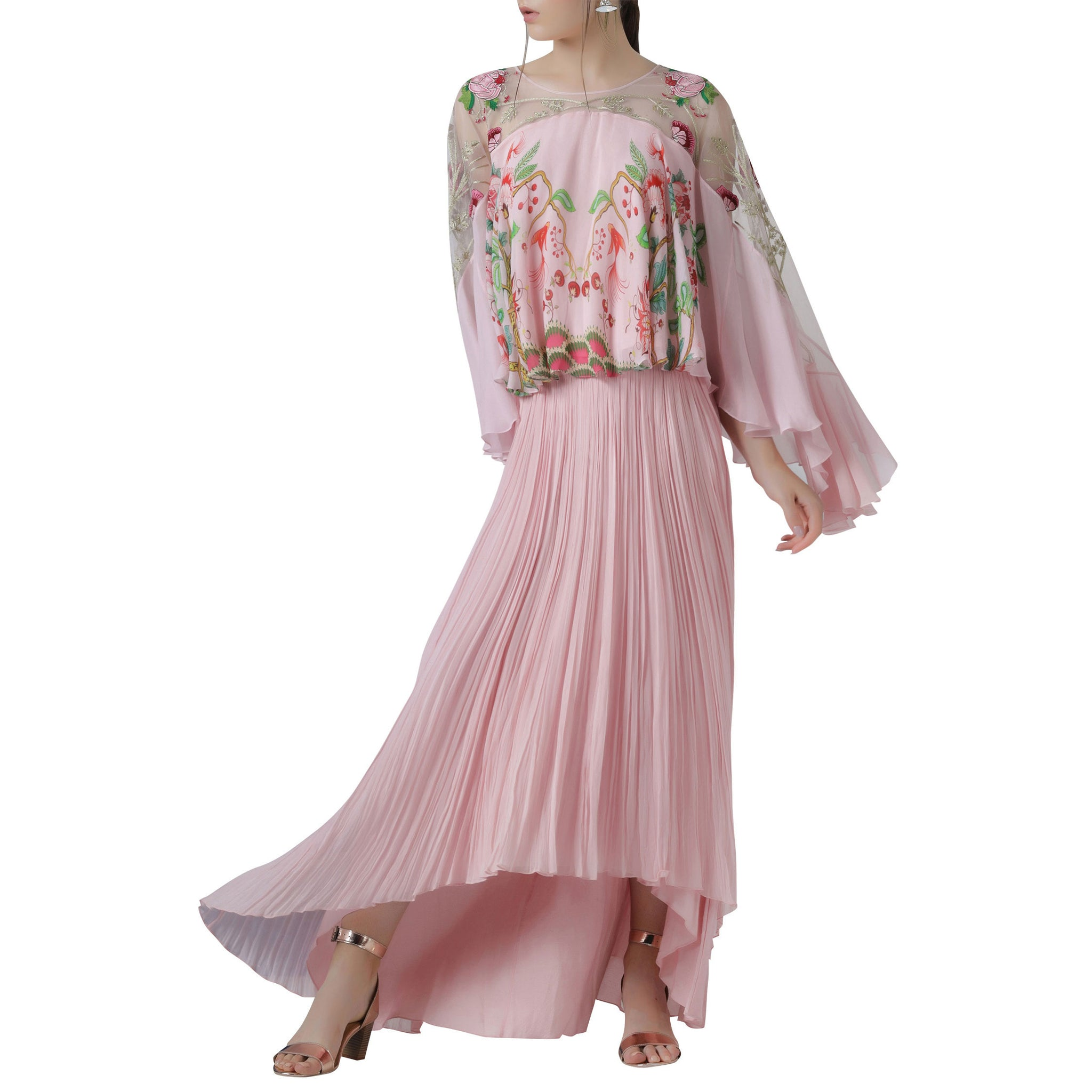 Embroidered and Printed Cape Top with Pleated Skirt