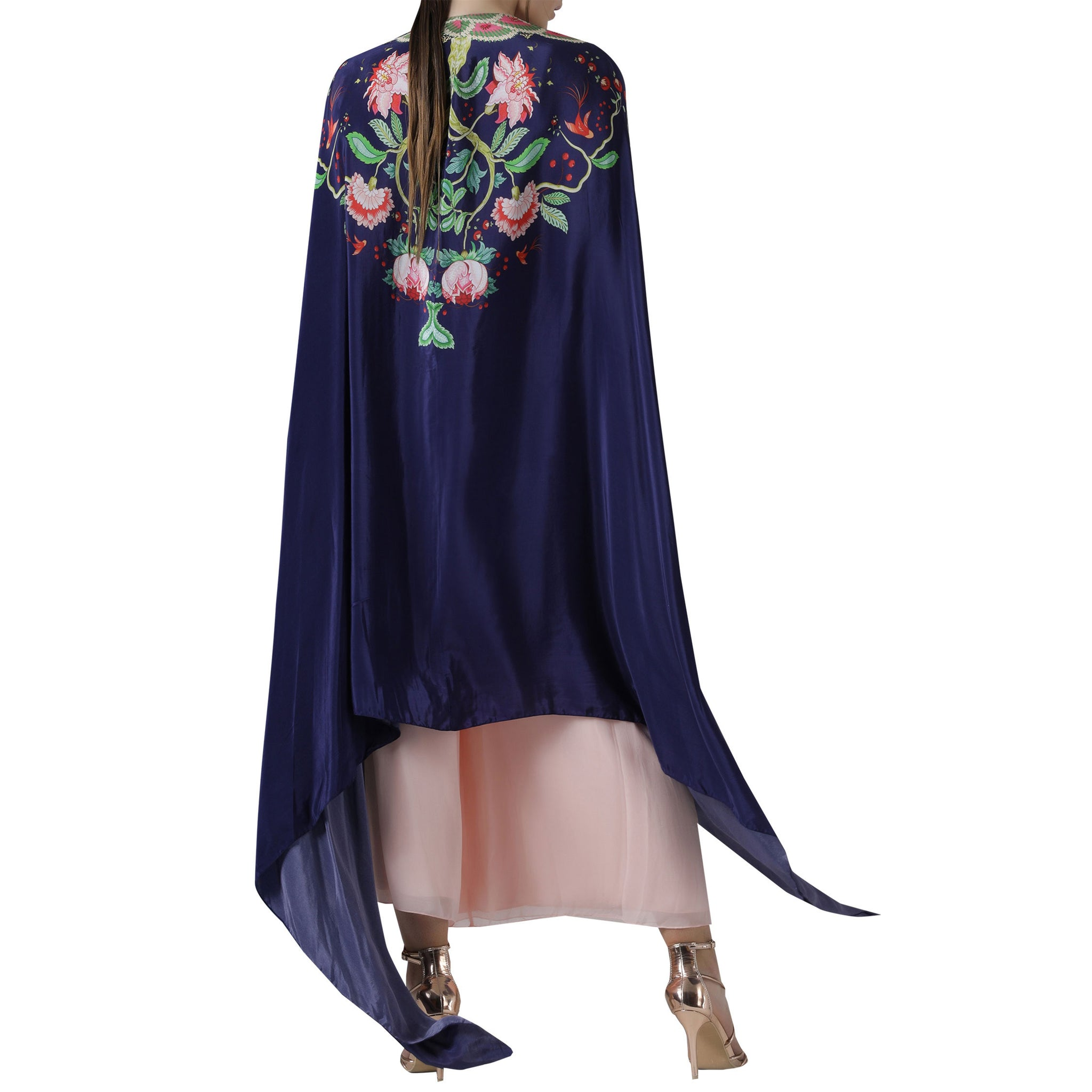 Embroidered Printed Cape Set