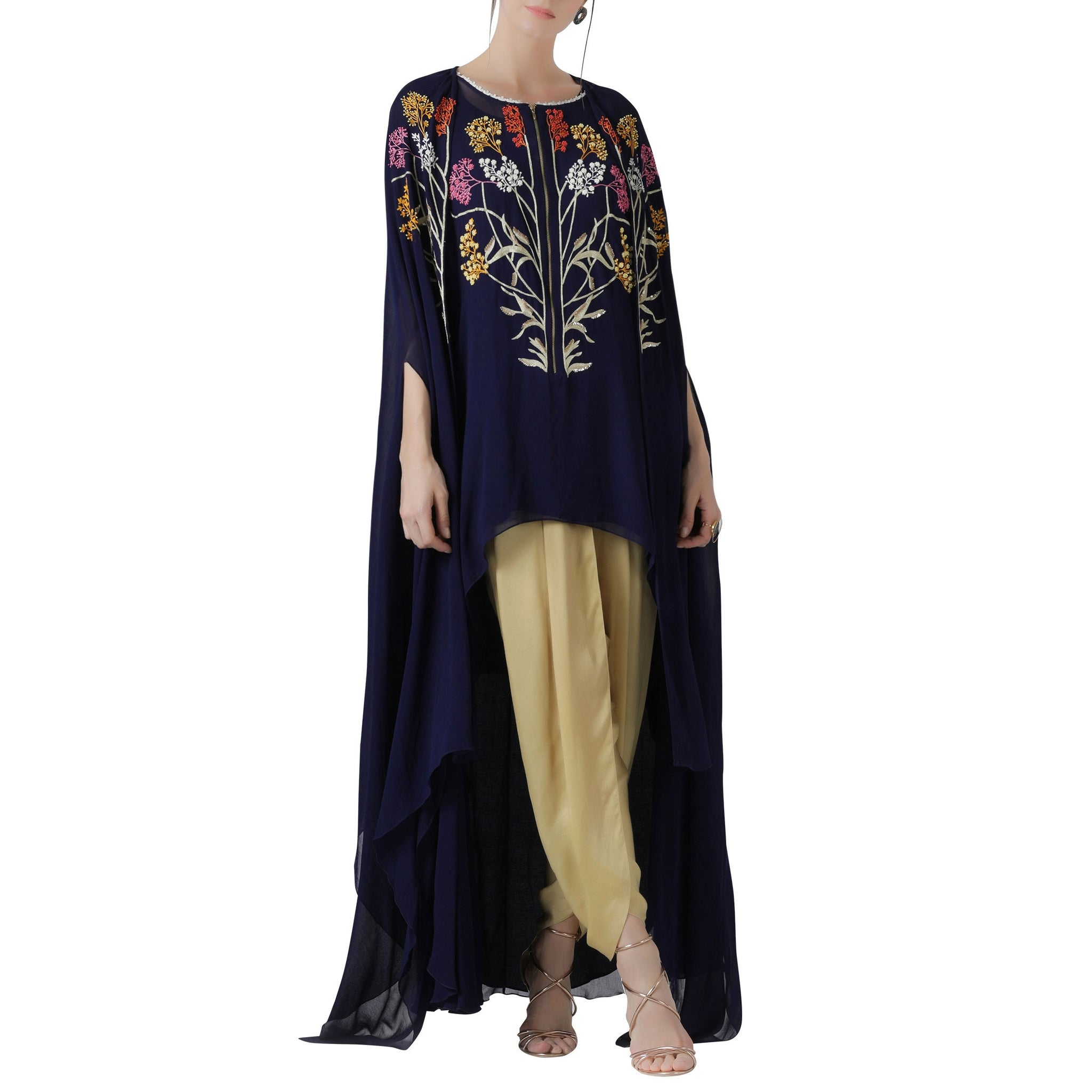 Embroidered Cape and Tunic with Dhoti Pants