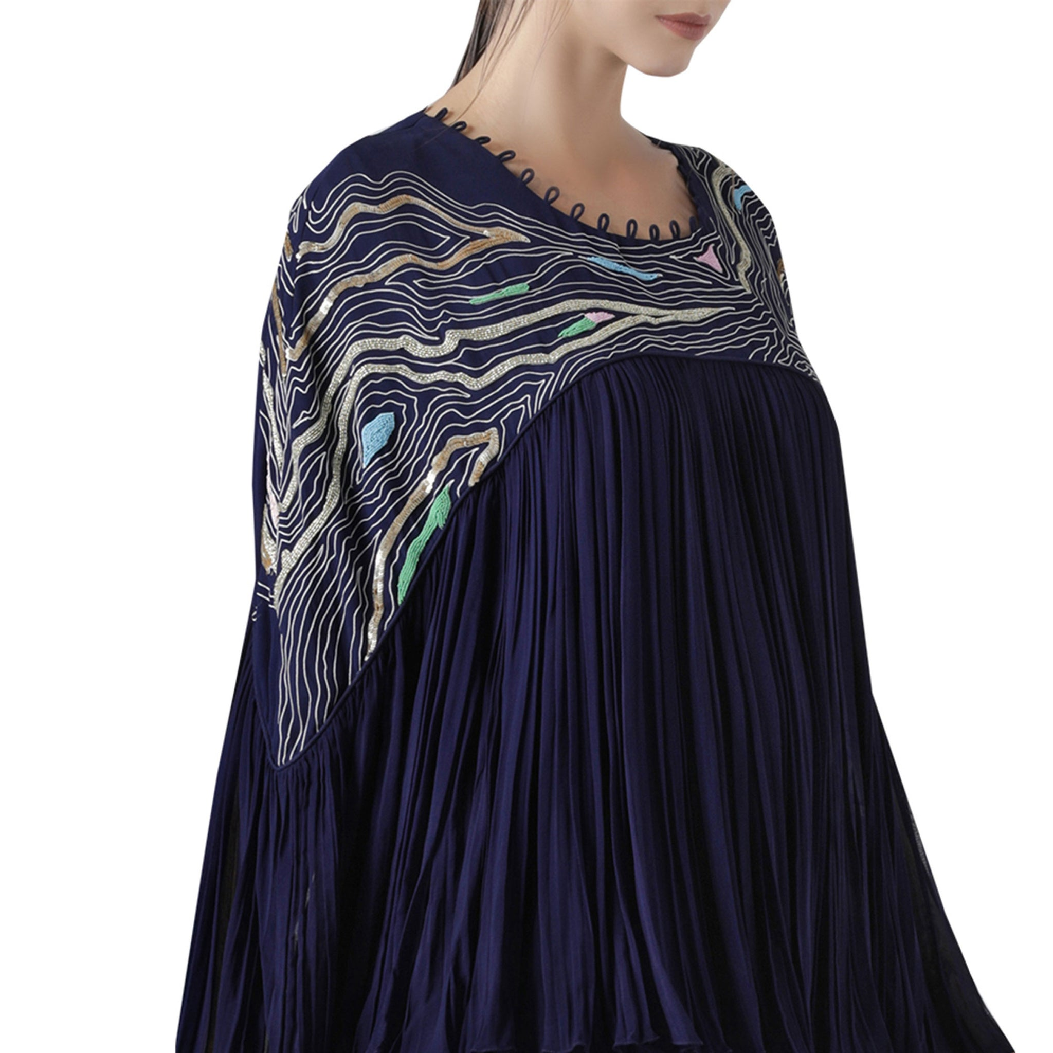 Embroidered Pleated Top