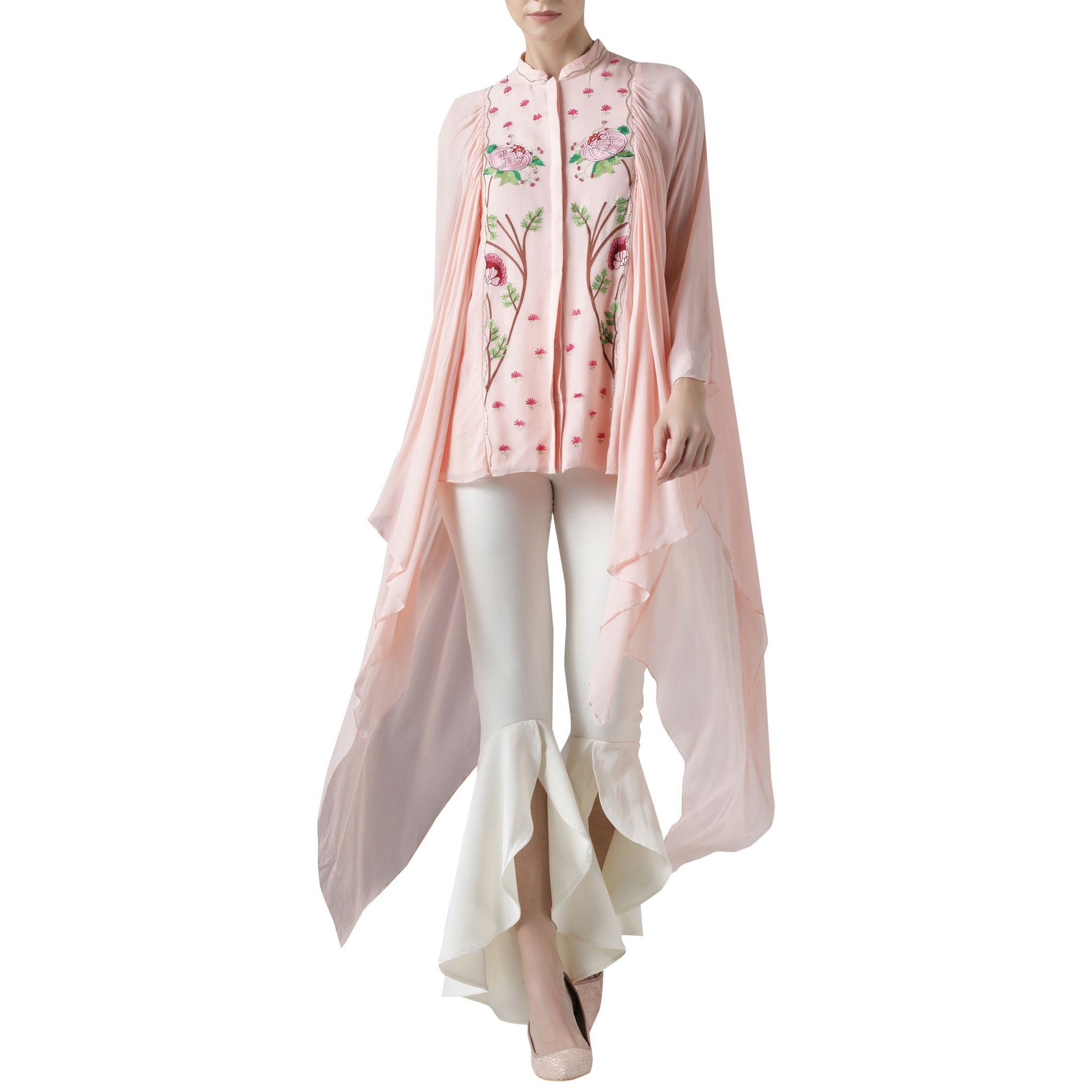 Embroidered Top with Exaggerated Sleeves