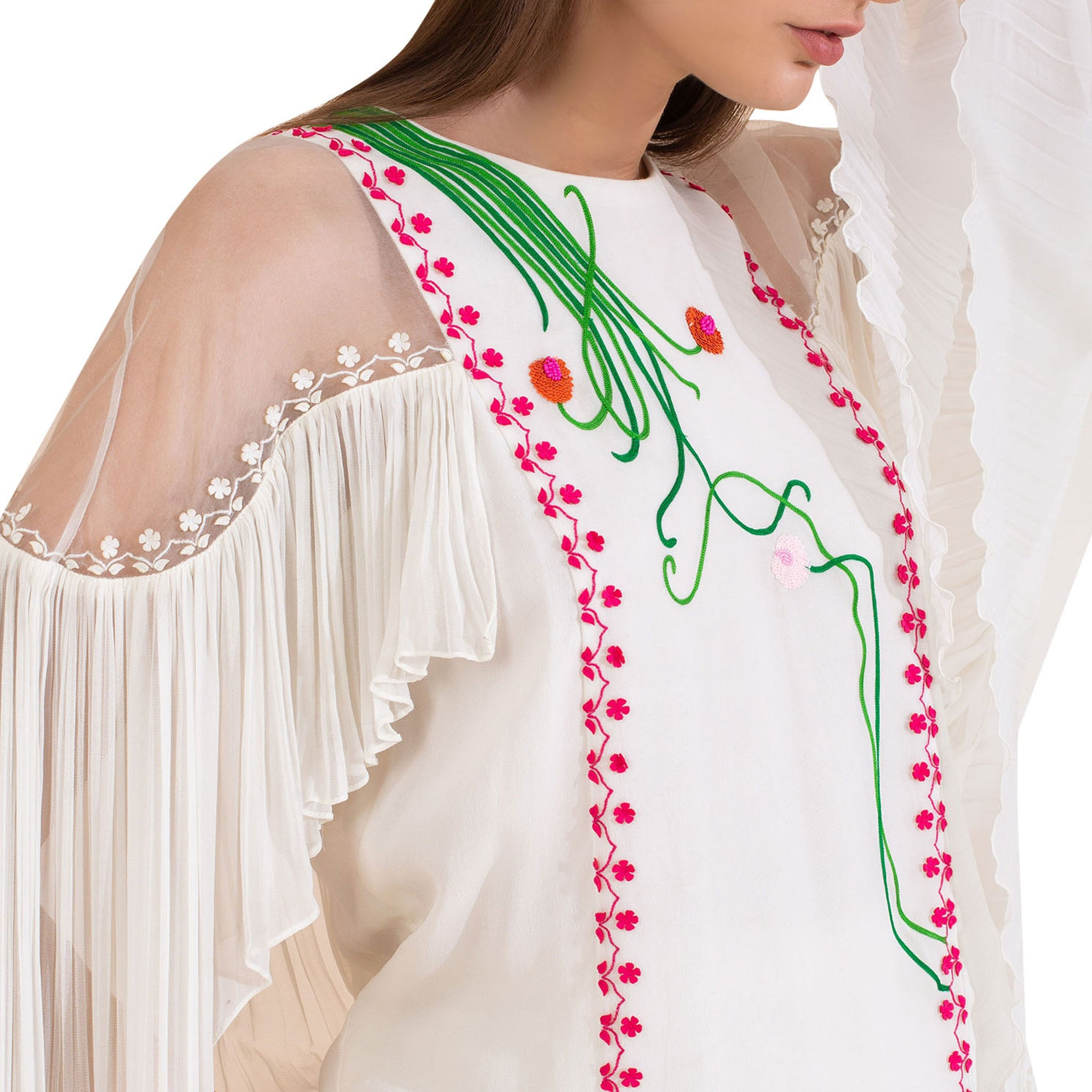 Embroidered Top with Statement Sleeves