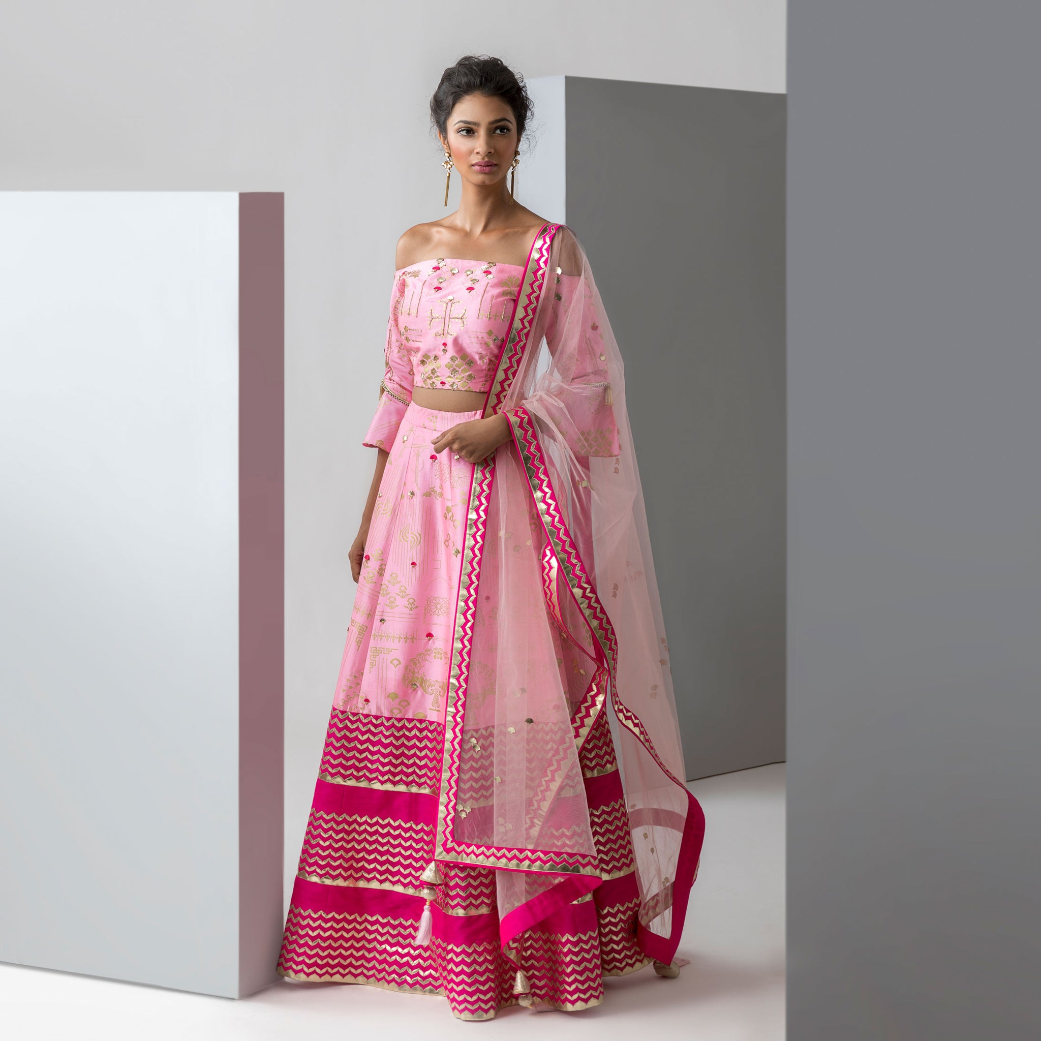 Embroidered Off-Shoulder Blouse with Printed Lehenga & Embroidered Net Dupatta