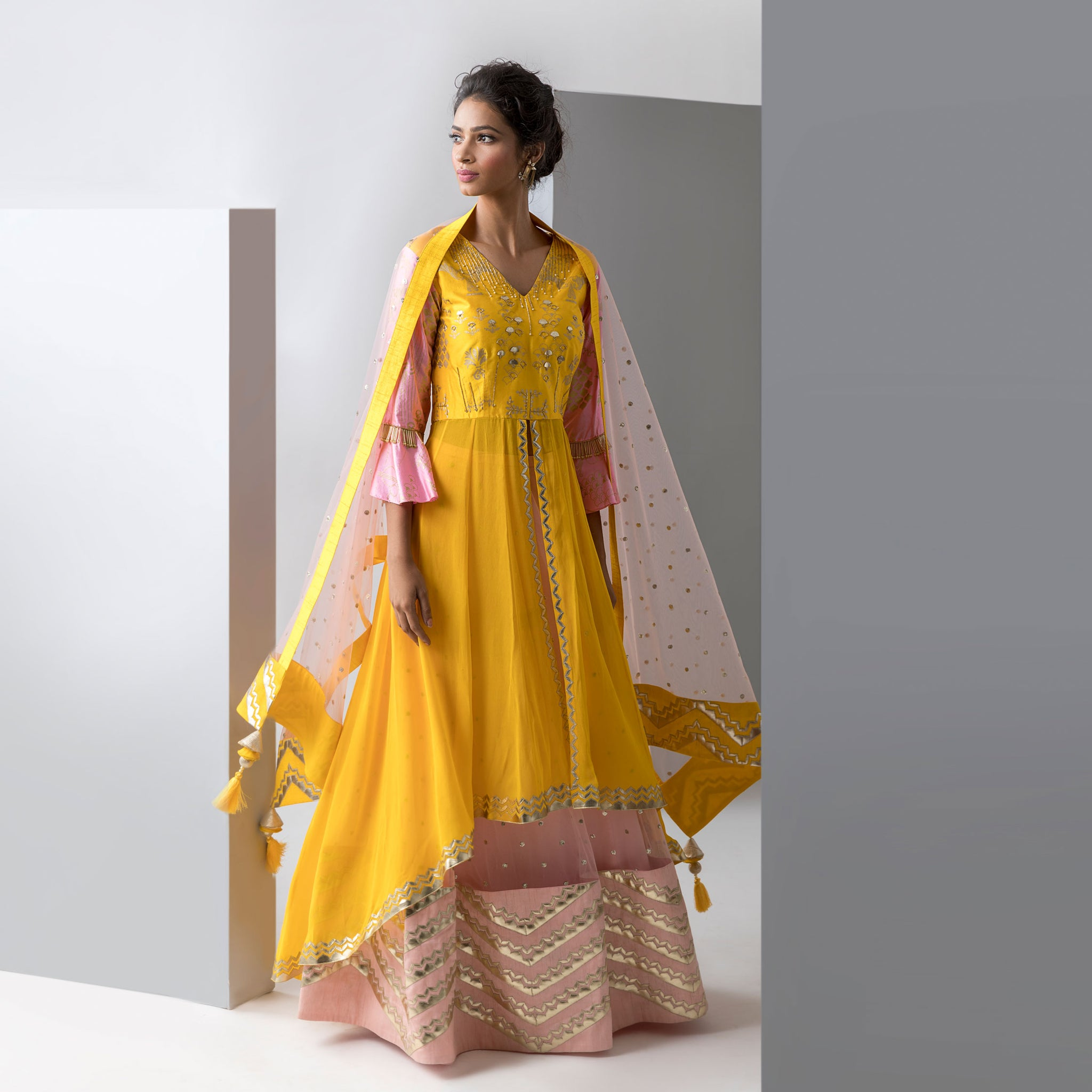 Embroidered Anarkali with Lehenga Skirt and Dupatta