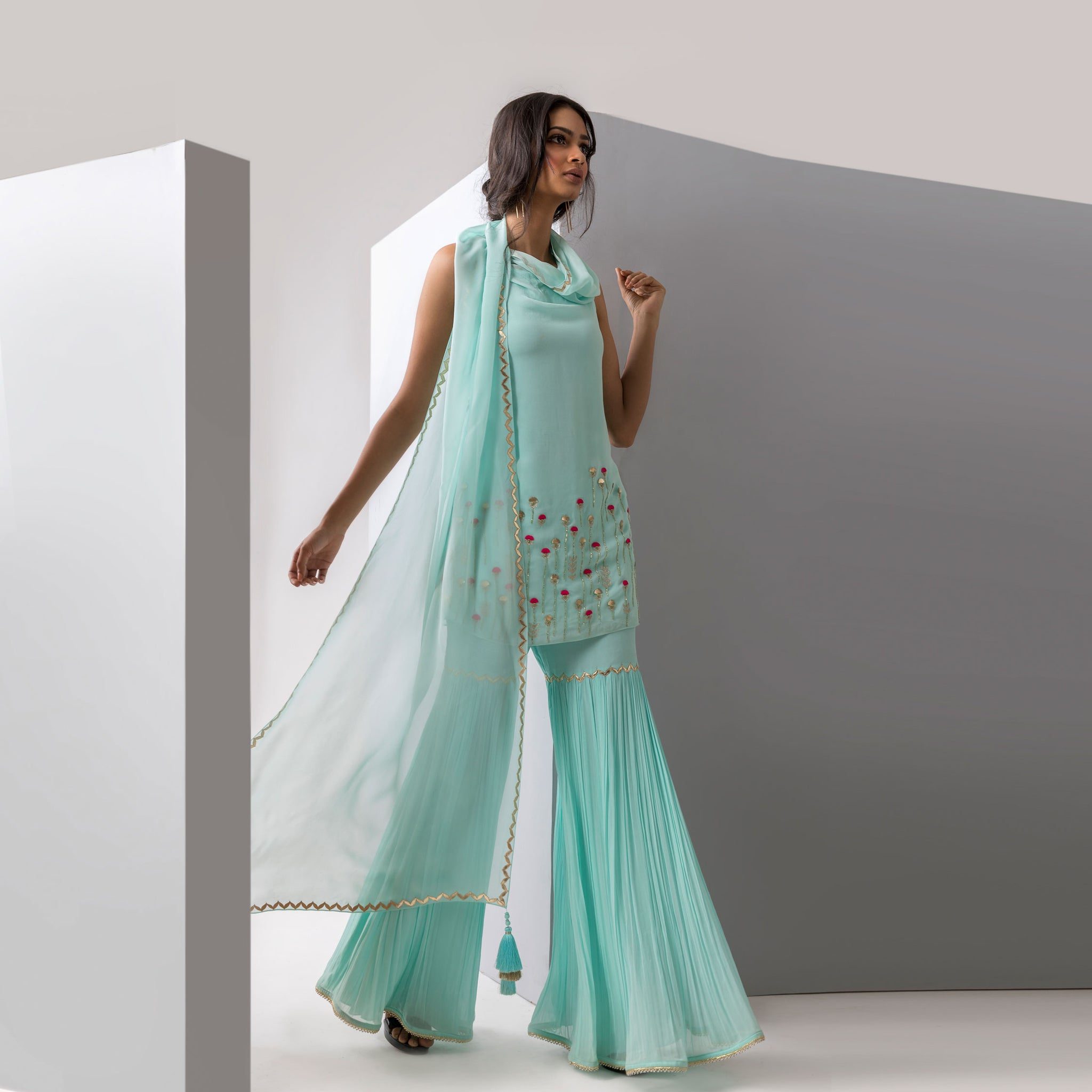 Embroidered Kurta with Attached Drape & Gharara Pants