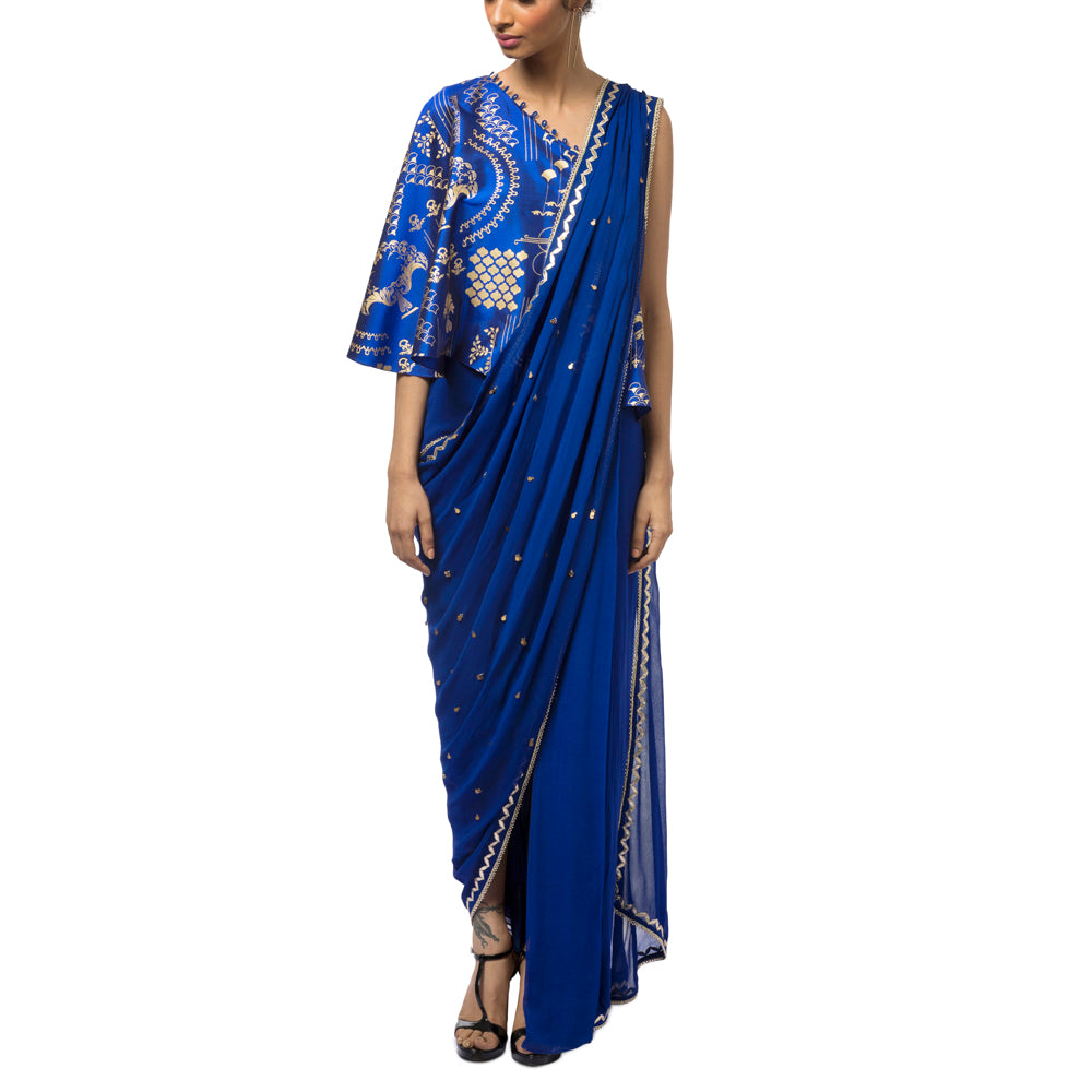 Embroidered Sari Gown