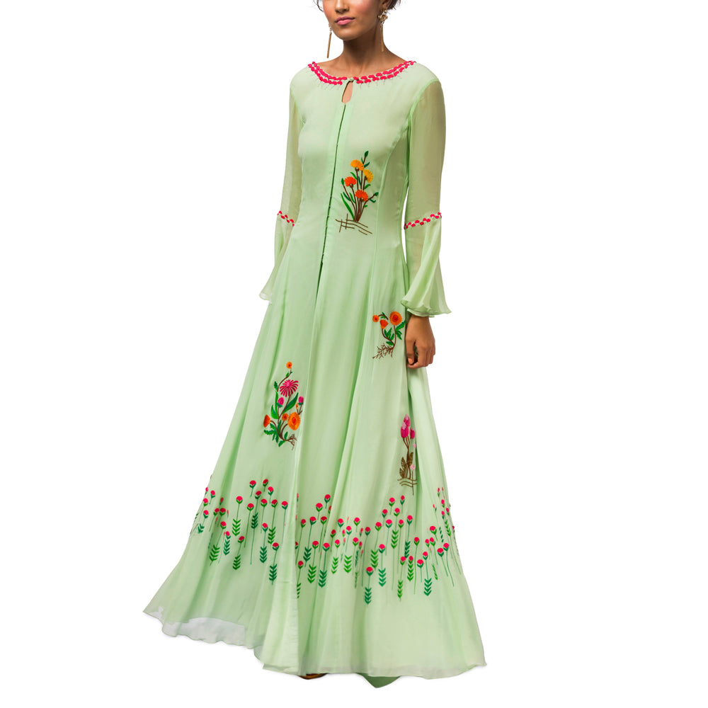 Embroidered Gown with Palazzo