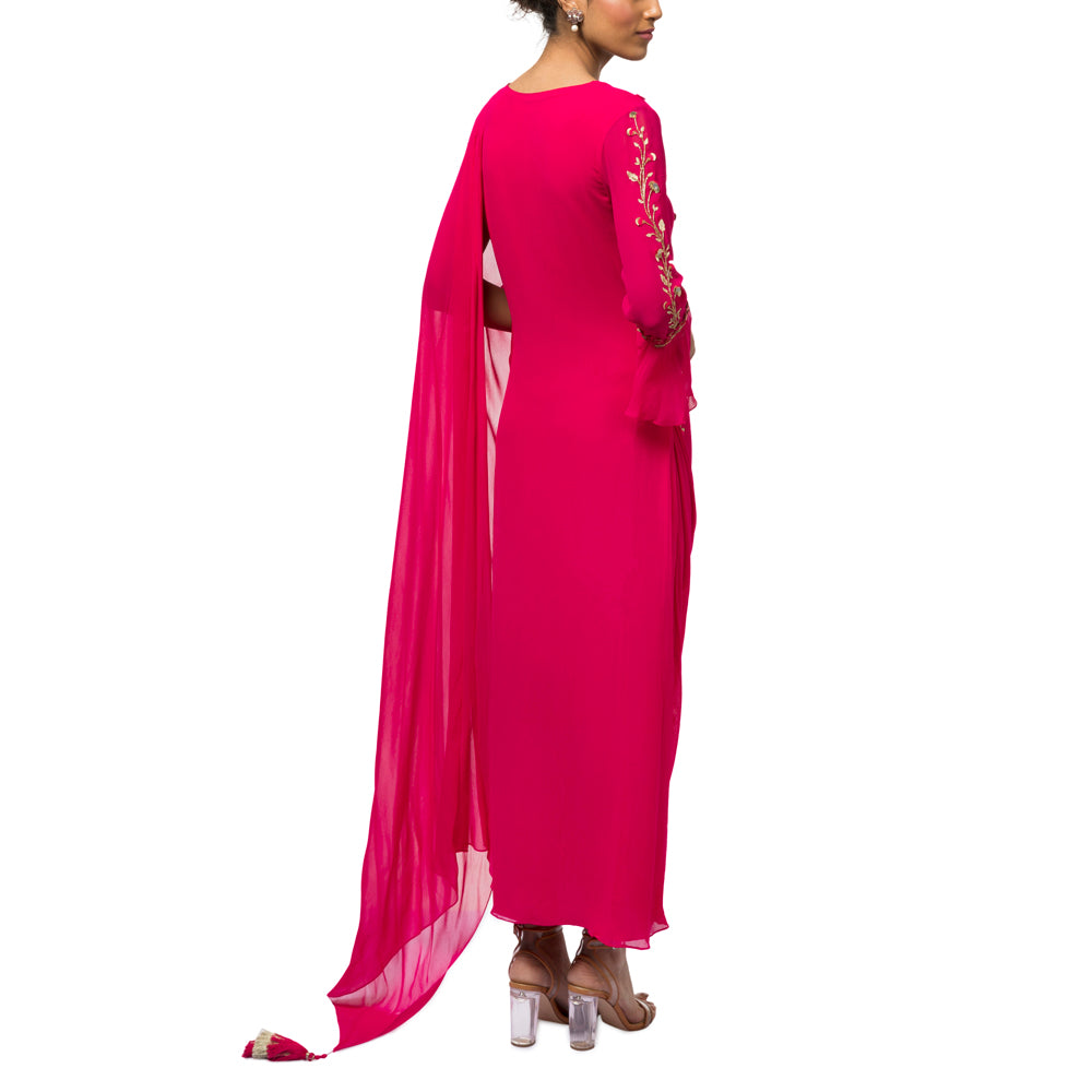 Embroidered Draped Kurta with Churidar