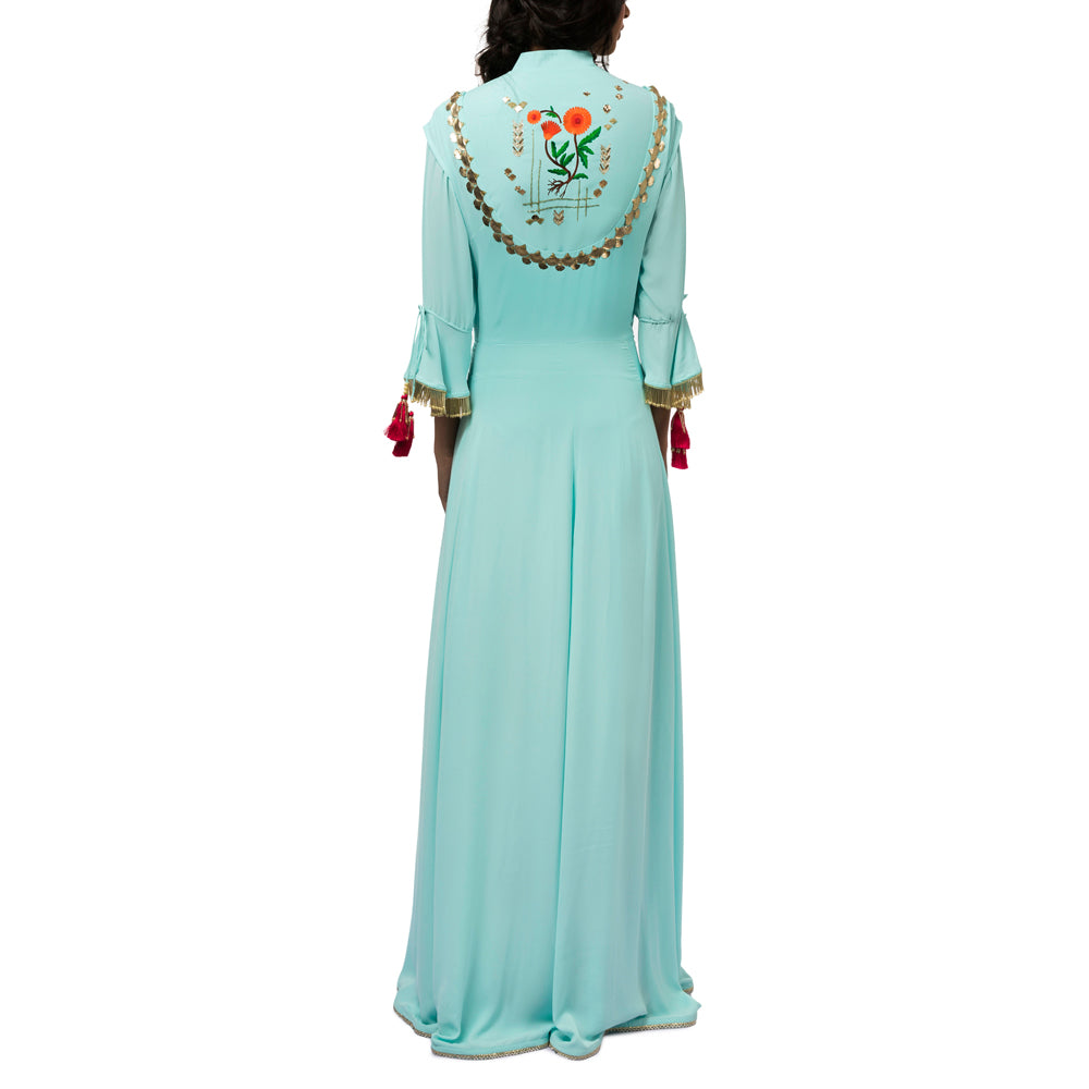 Embroidered Asymmetric Jacket with Gown