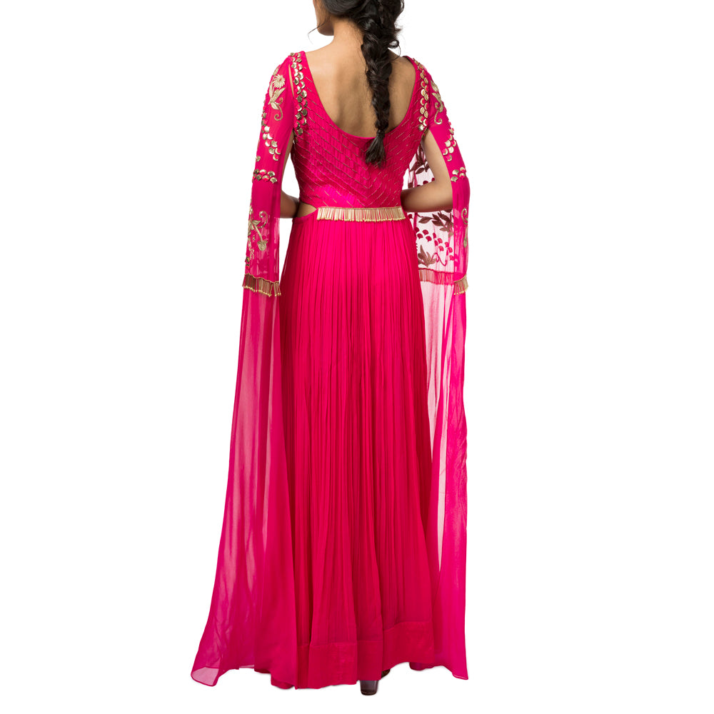 Embroidered Gown with Exaggerated Sleeves