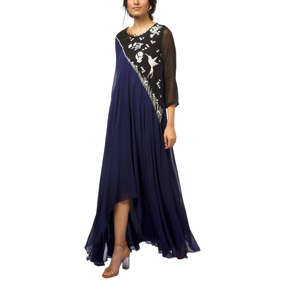 Asymmetrical Embroidered Panel Dress