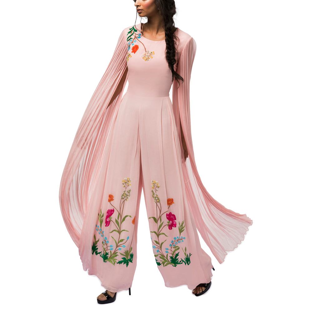 Embroidered Jumpsuit with  Exaggerated Sleeves
