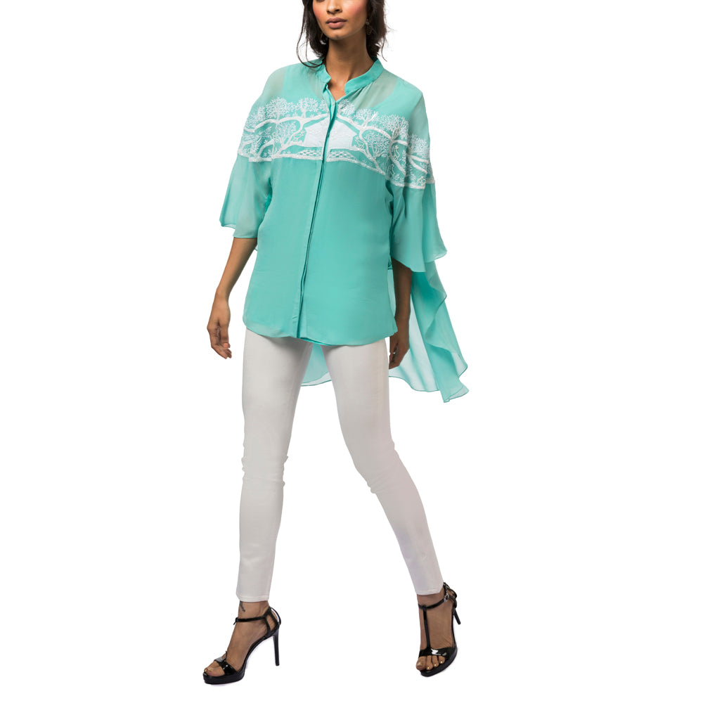 Embroidered Cape Sleeved Tunic
