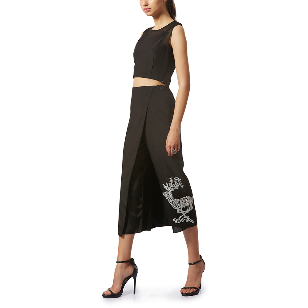 Embroidered Draped Culottes