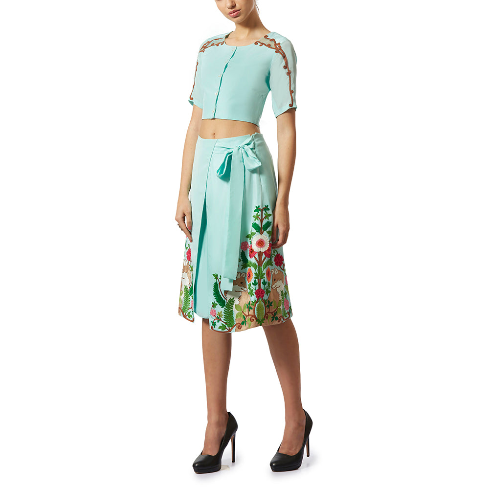 Embroidered Wrap Skirt-Culottes