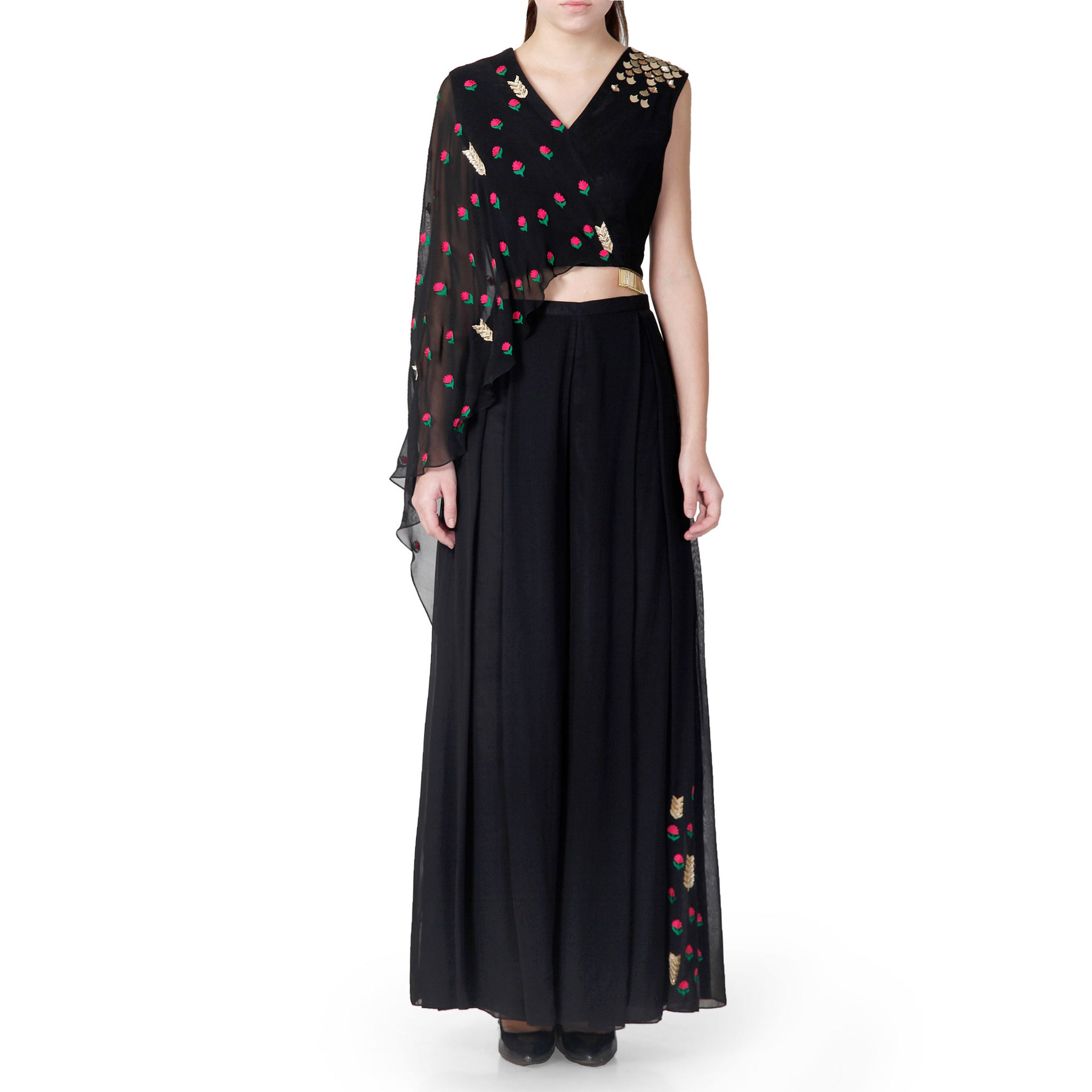 Embroidered Draped Top with Flared Pants