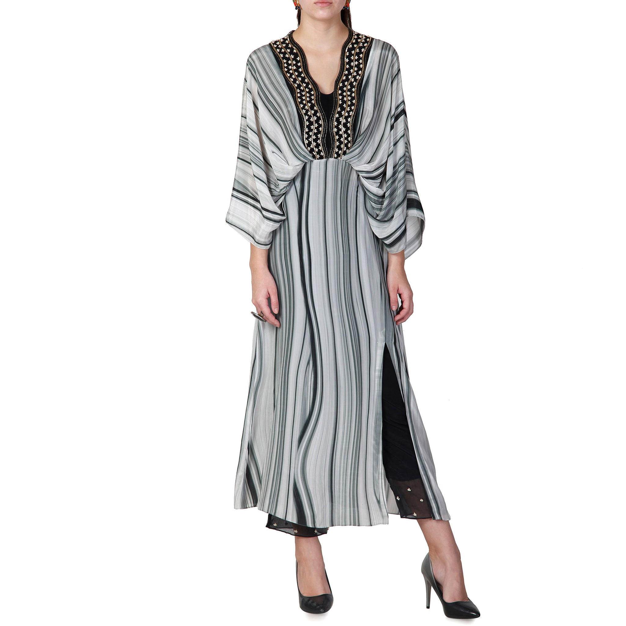 Embroidered Draped Kurta with Pants