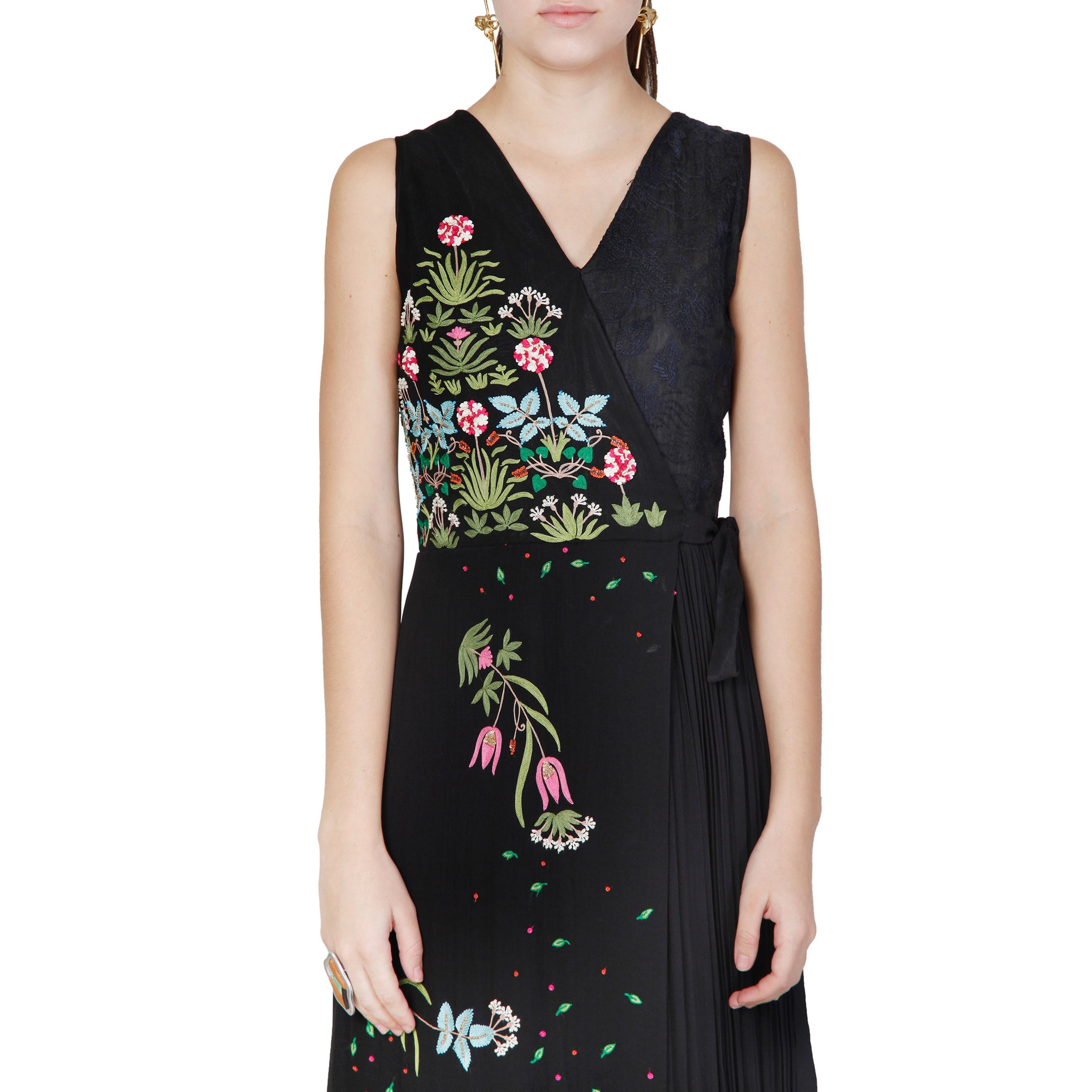 Overlap Embroidered Jumpsuit