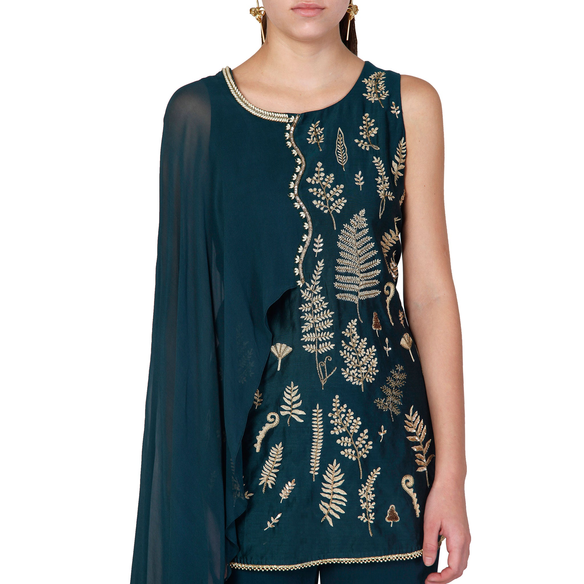 Draped Embroidered Kurta with a Pleated Sharara