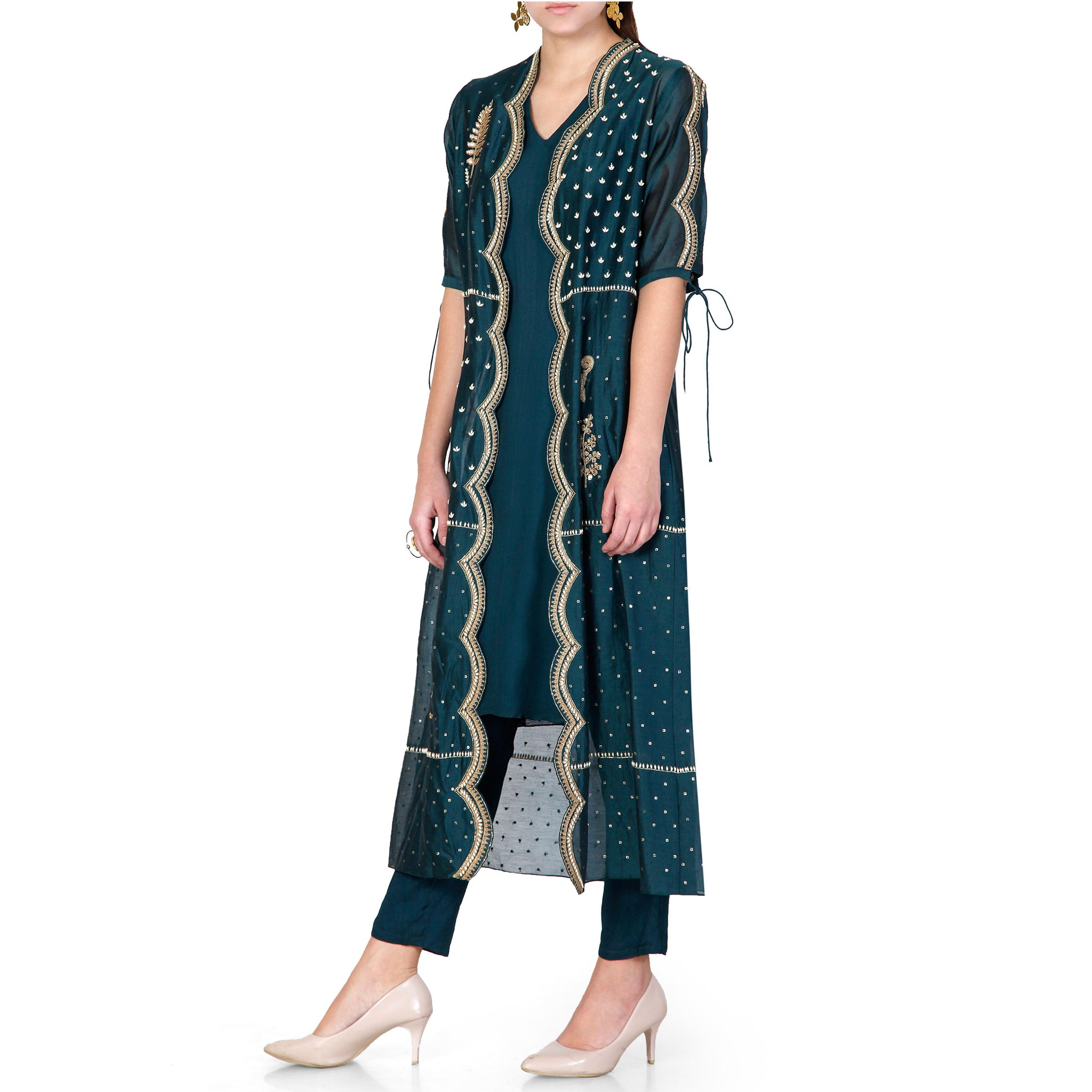 Embroidered Jacket with Kurta Set