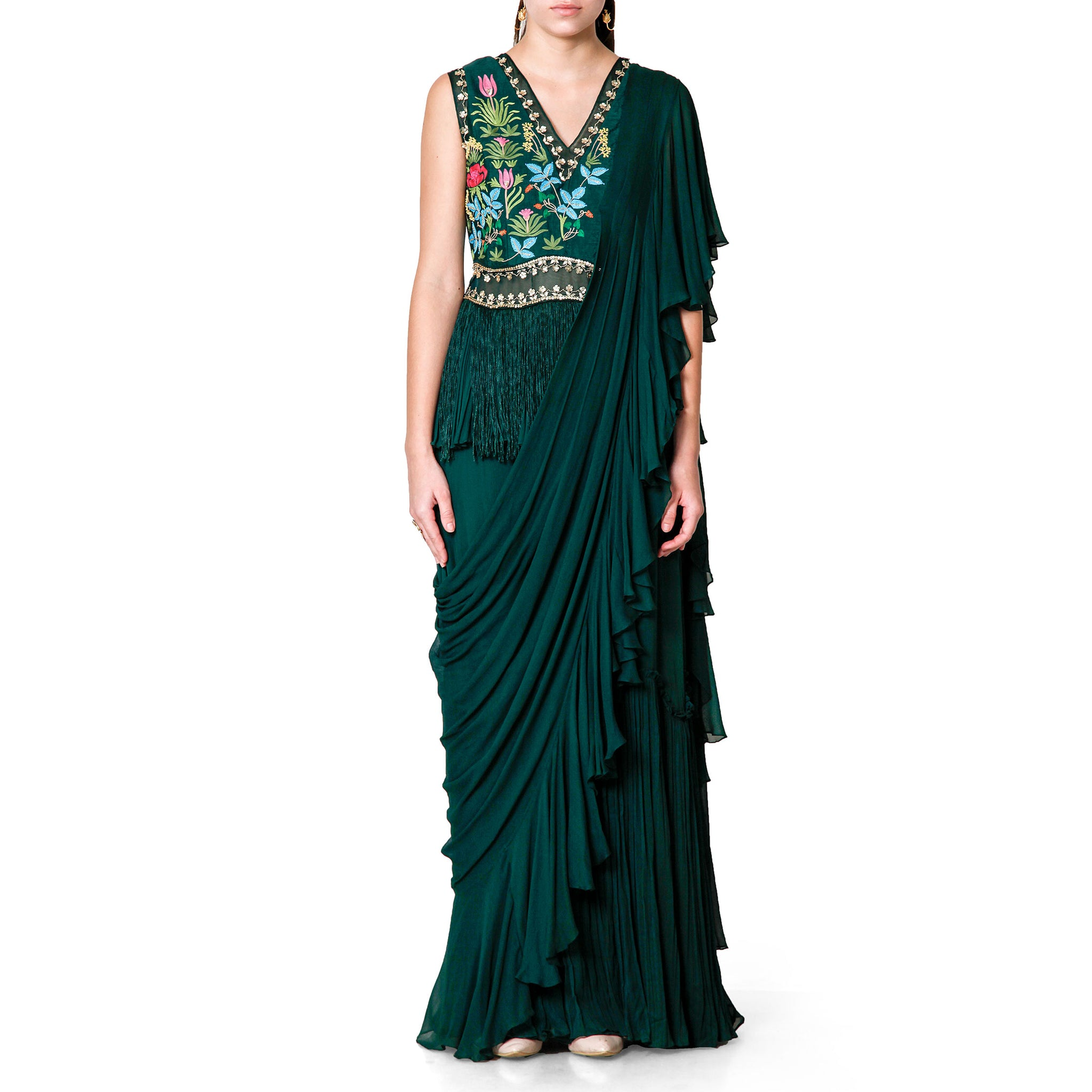 Embroidered Peplum Sari Gown