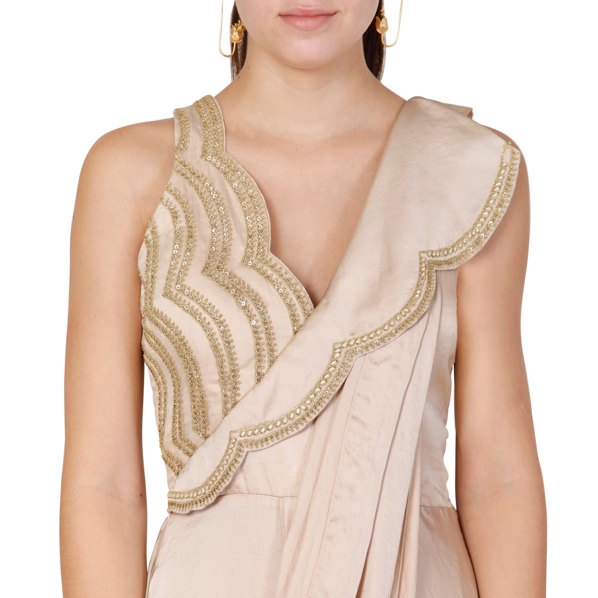 Embroidered Pre-Draped Sari with Embroidered Lapel Detail