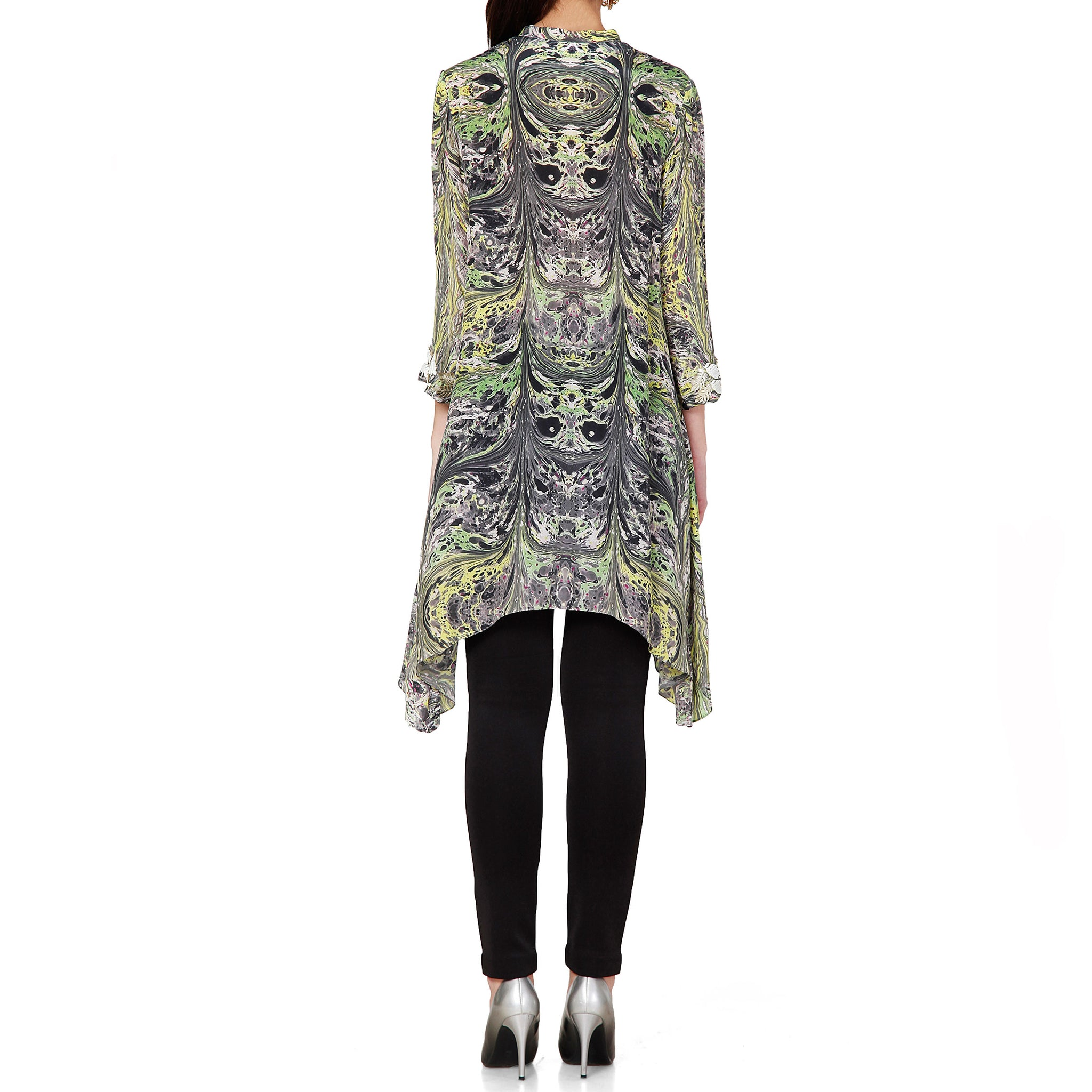 Asymmetric Tunic with Cut-work Embroidery