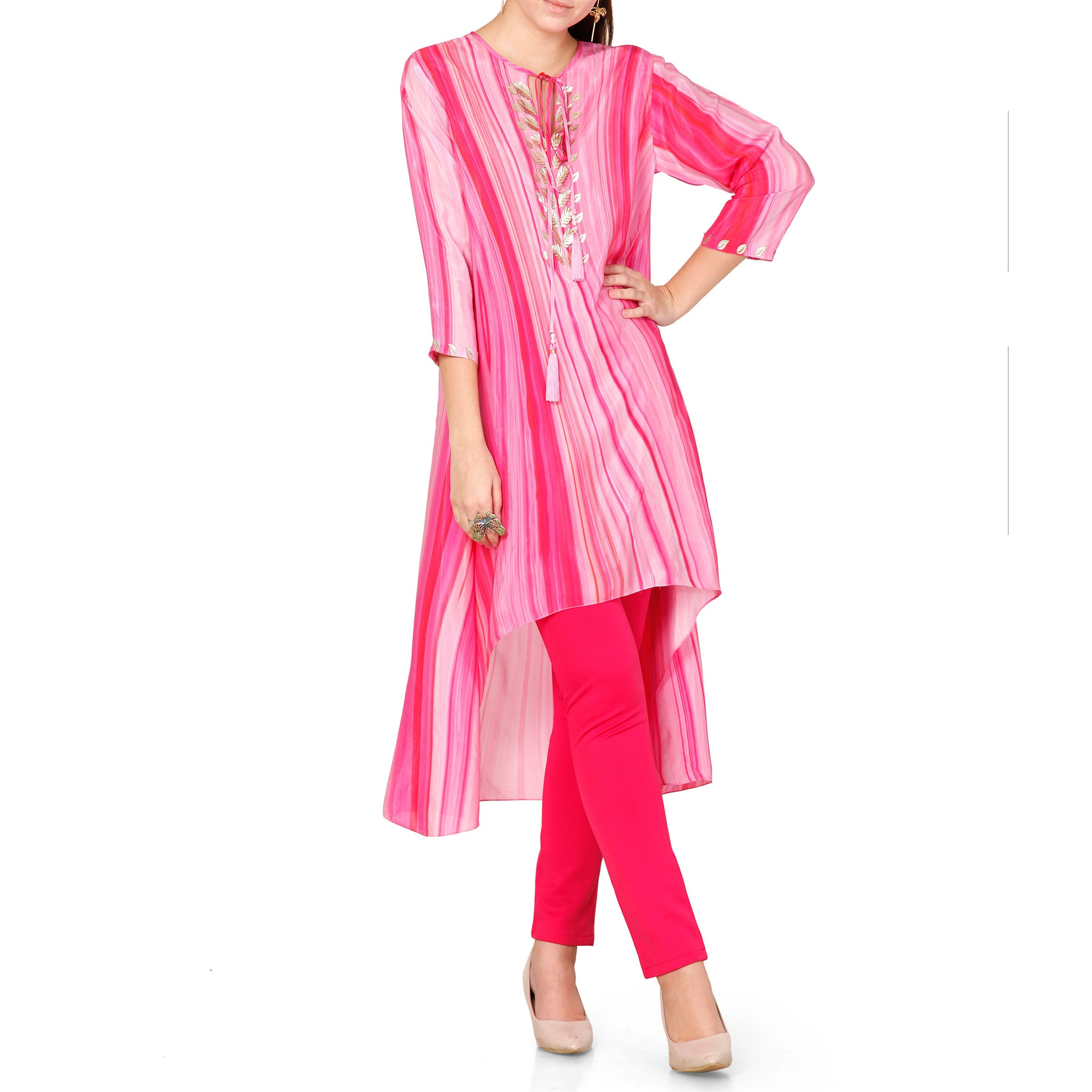 Embroidered High Low Kurta