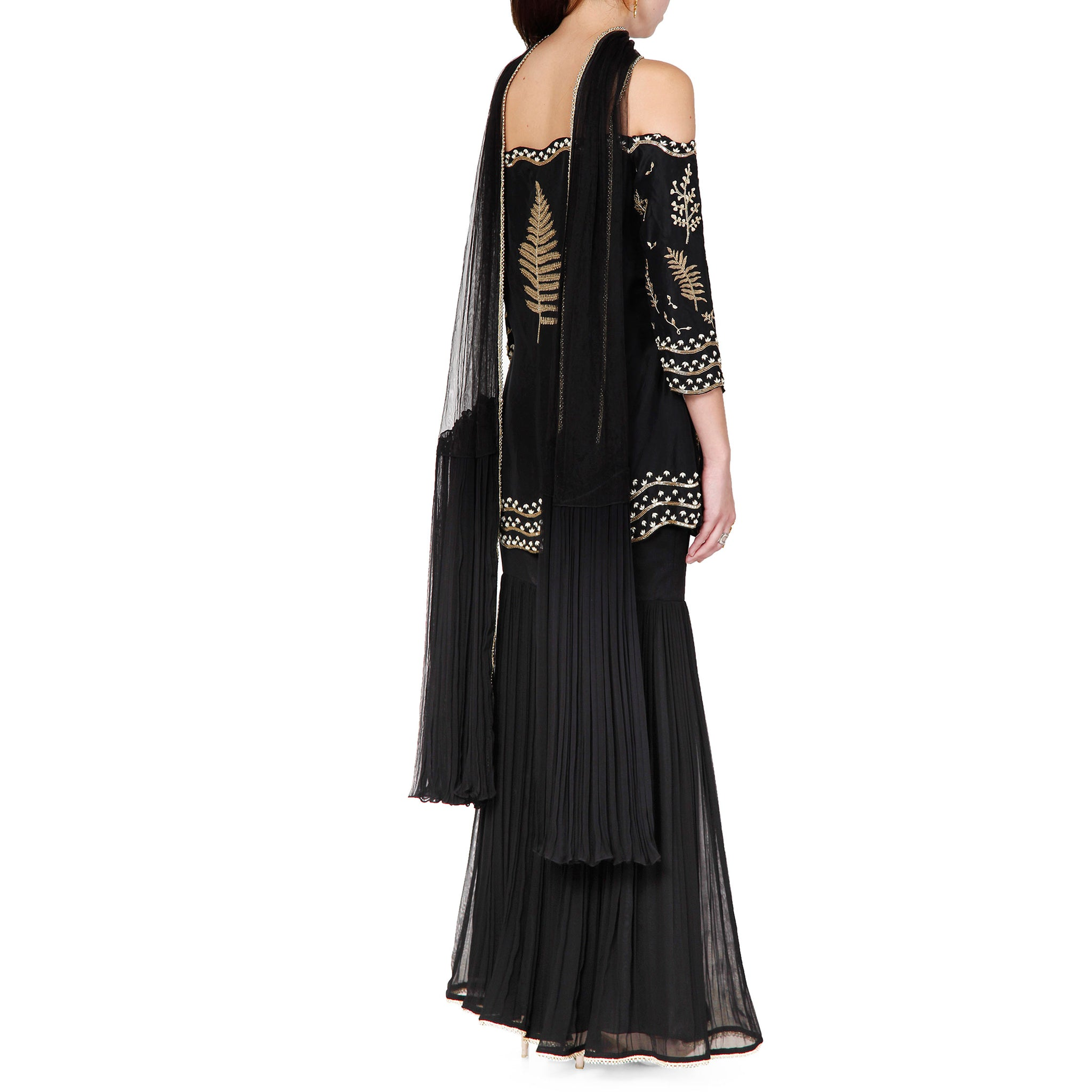 Off Shoulder Embroidered Kurta Sharara Set