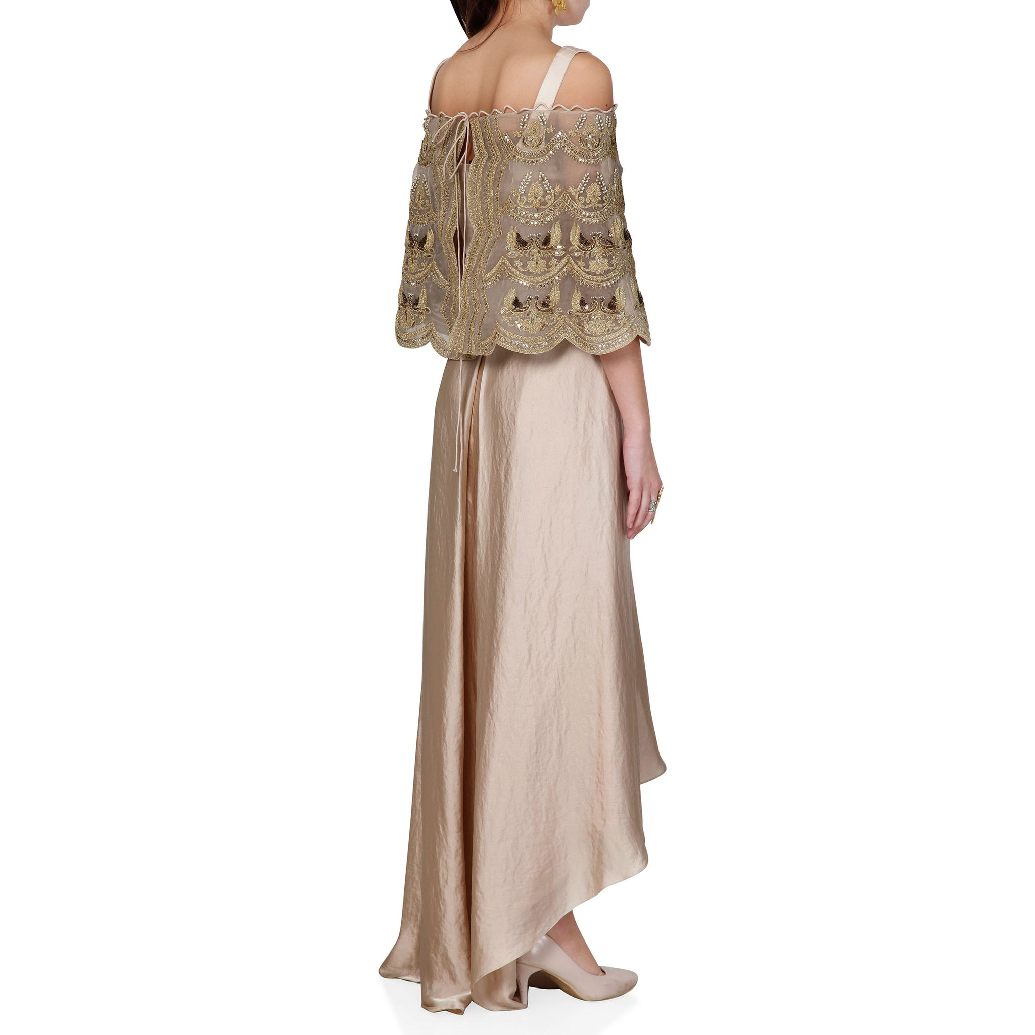 Embroidered Cape with Blouse and Draped Skirt