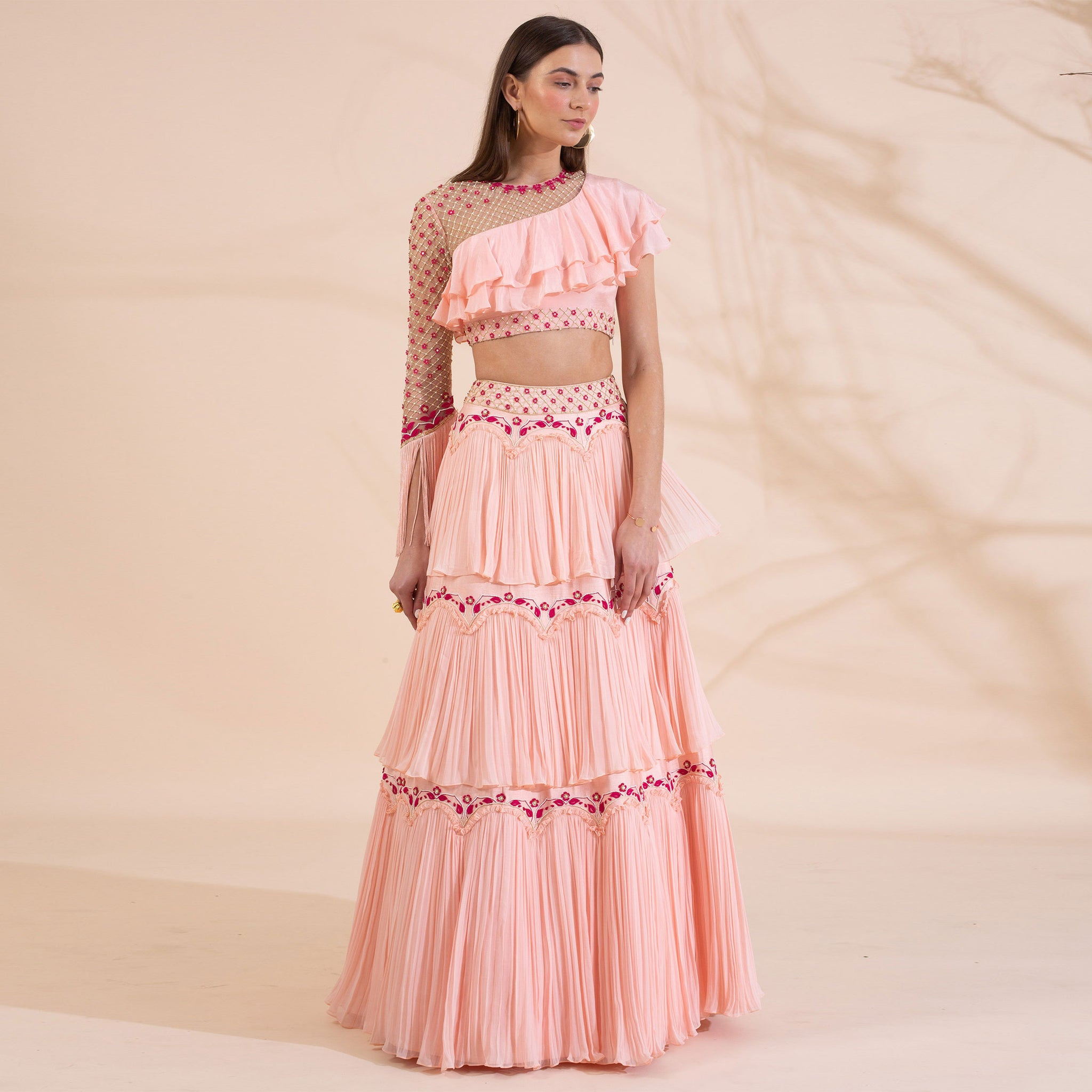 Embroidered Blouse with Layered Lehenga