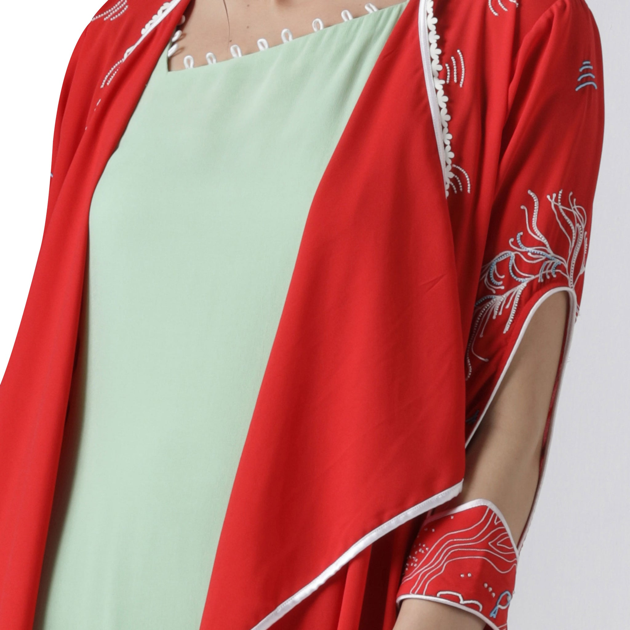 Embroidered Jacket with Asymmetrical Tunic