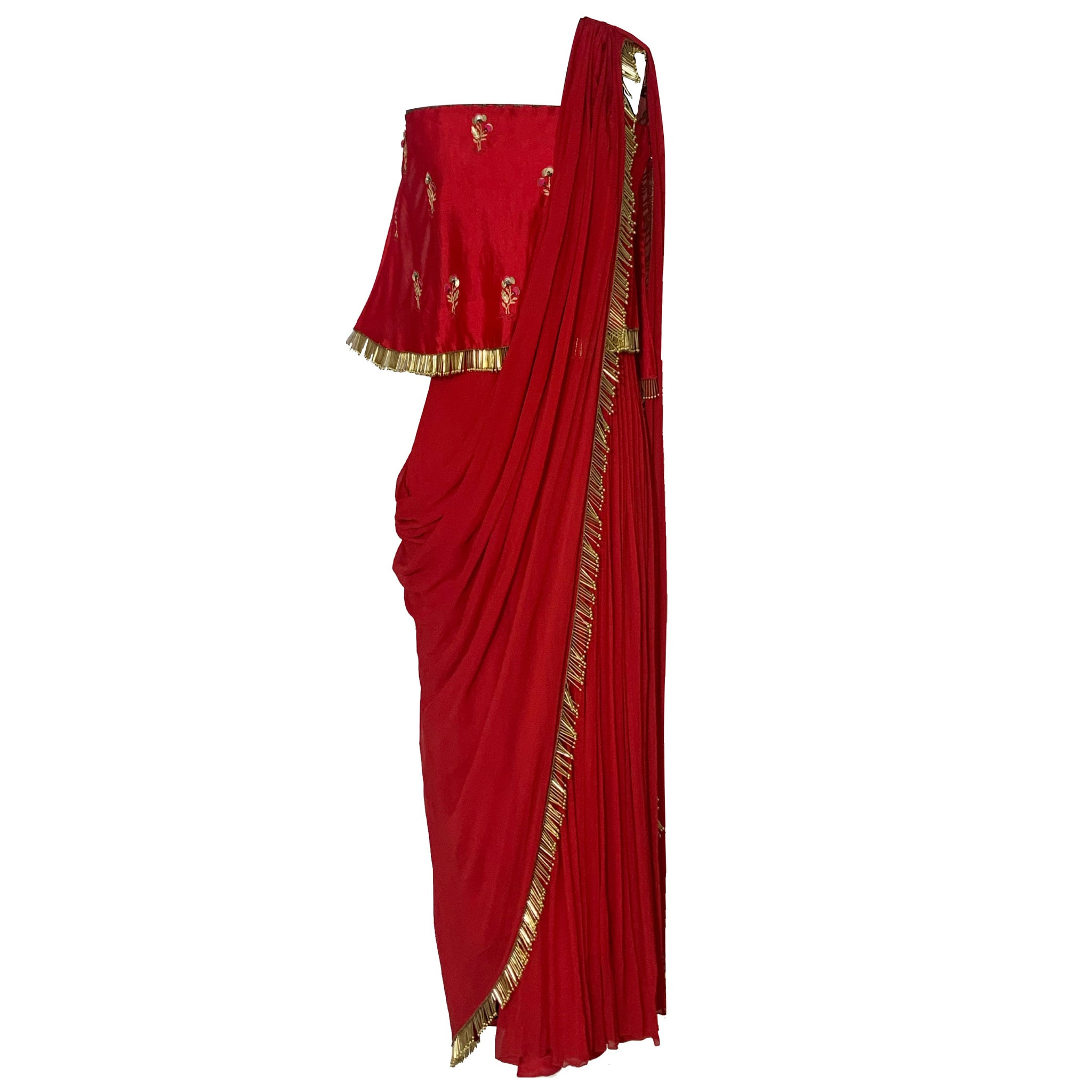 Embroidered Jumpsuit Sari